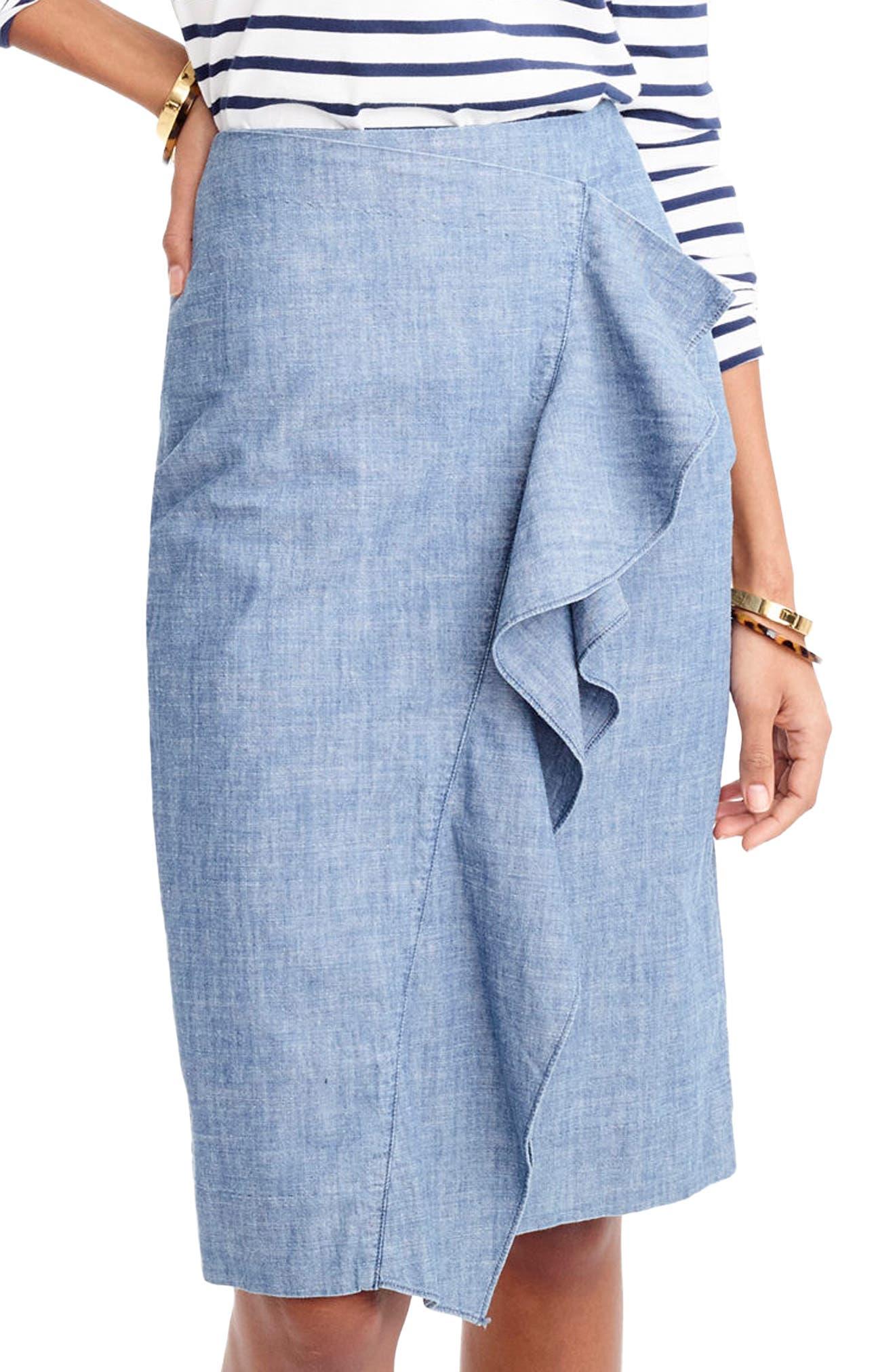 Chambray Ruffle Skirt,                         Main,                         color, Pale Indigo