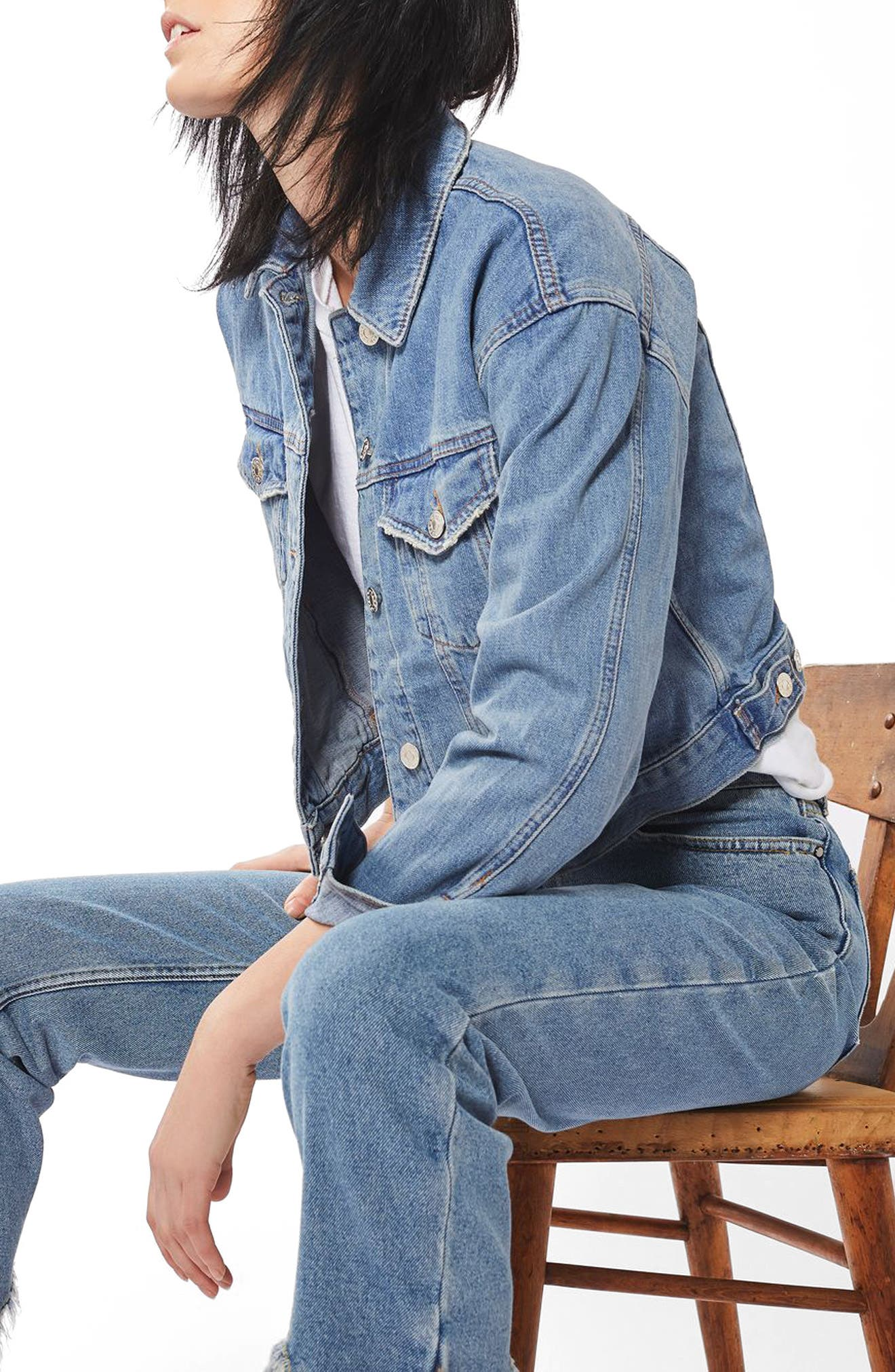 Matilda Denim Jacket,                         Main,                         color, Mid Denim