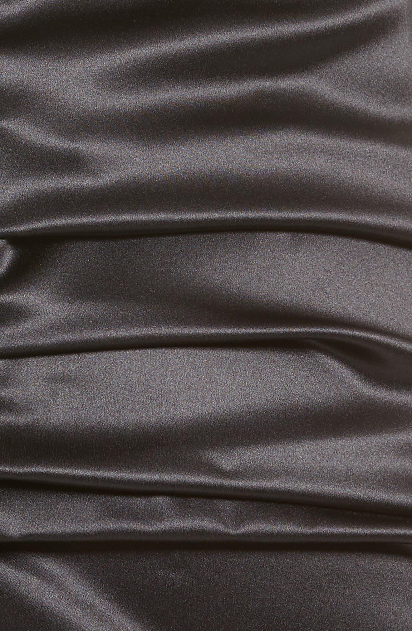 Ruched Stretch Satin Dress,                             Alternate thumbnail 3, color,                             Black