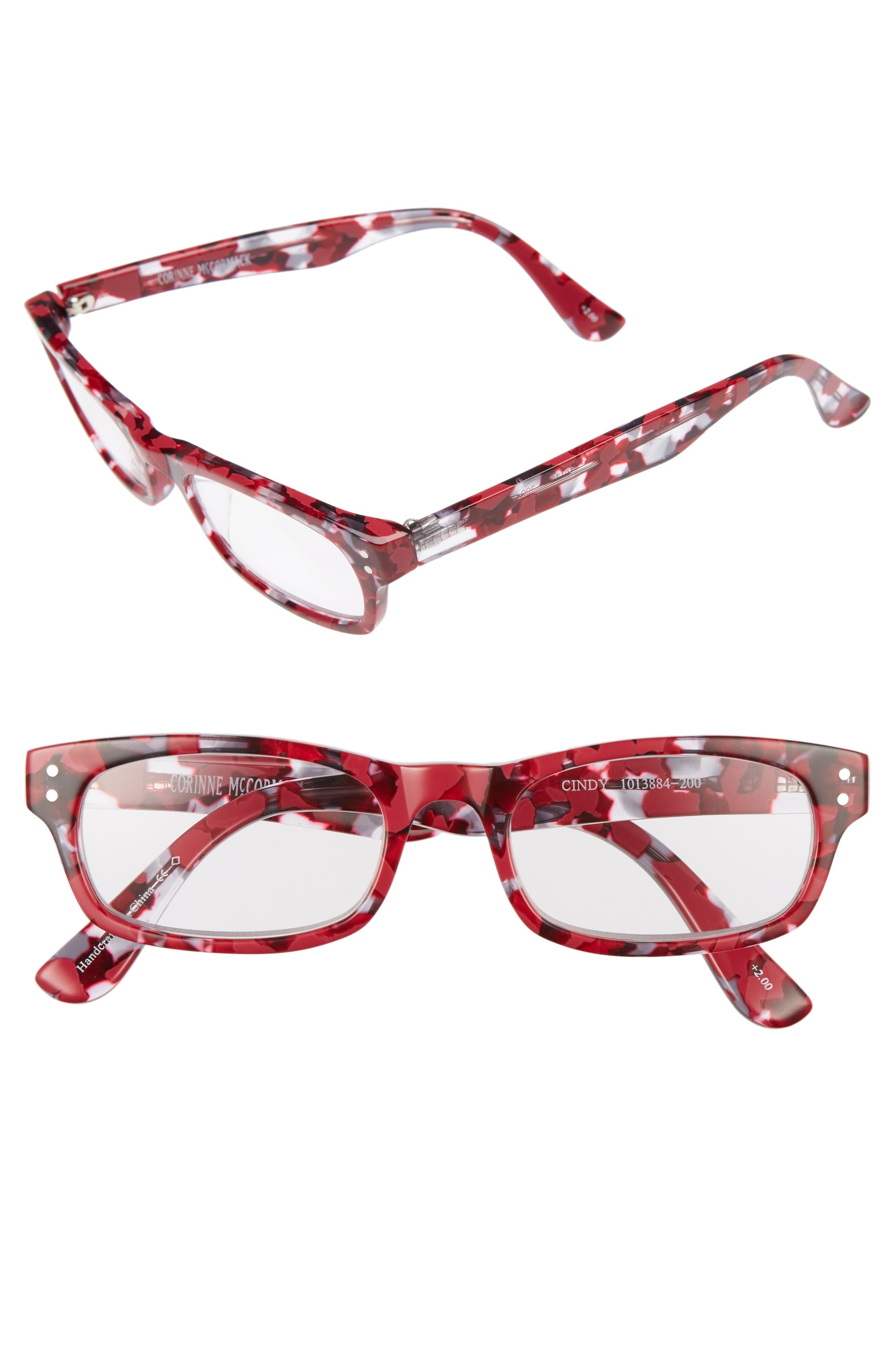 Cindy 50mm Reading Glasses,                             Main thumbnail 1, color,                             Berry
