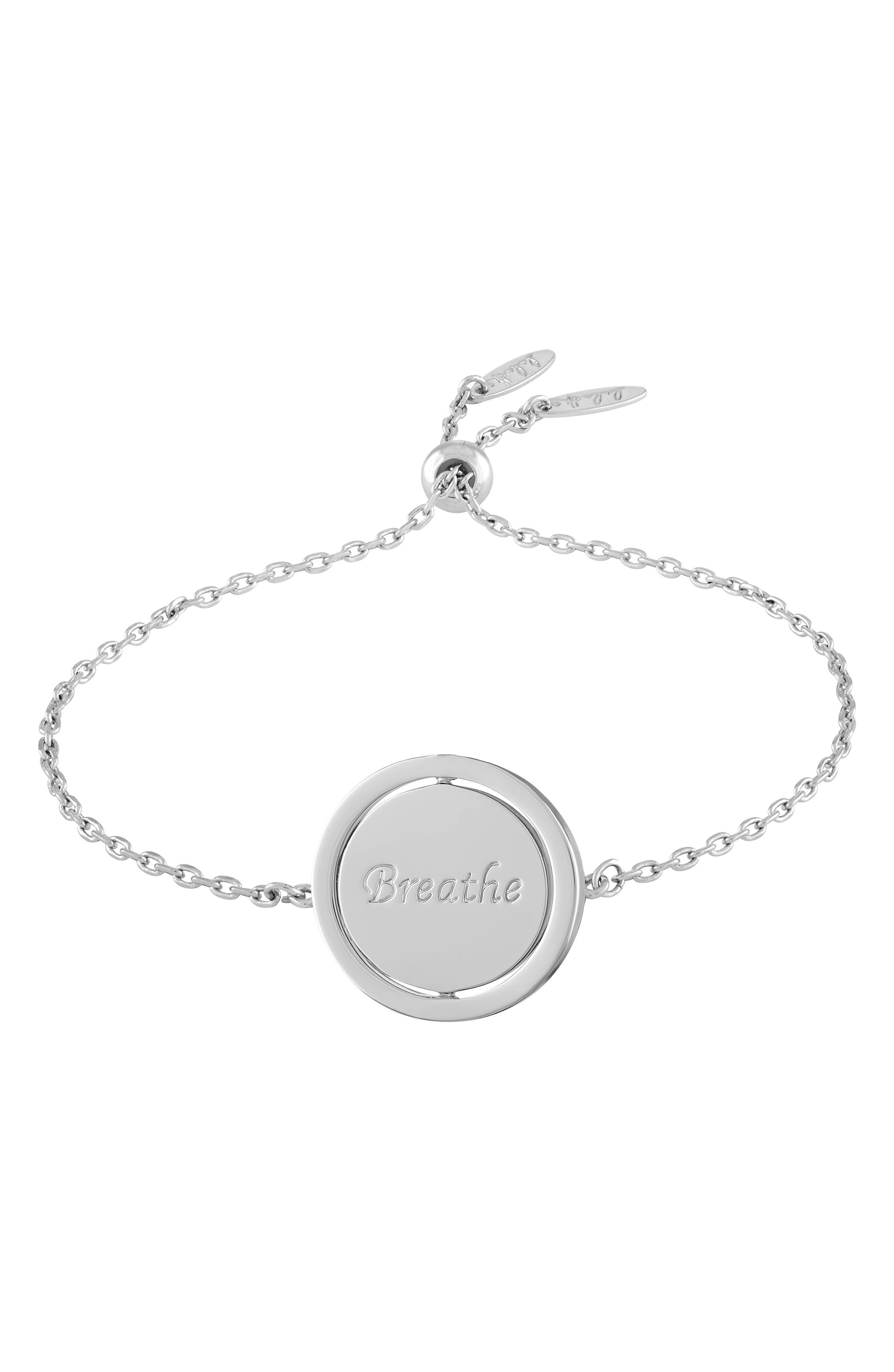 Small Spinning Pendant Bracelet,                             Main thumbnail 1, color,                             Breathe/ Silver