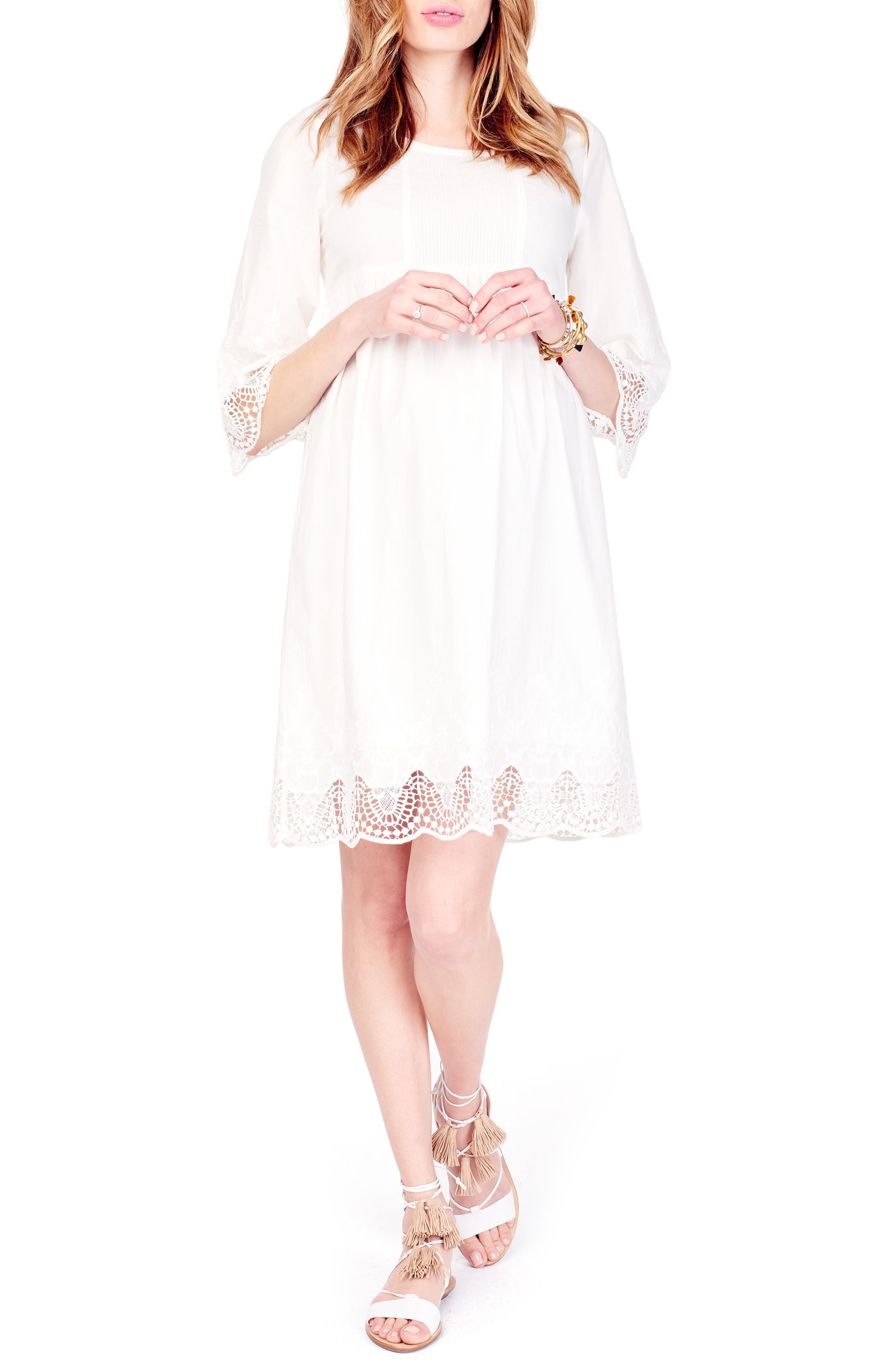 Lace Trim Maternity Dress,                         Main,                         color, Ivory
