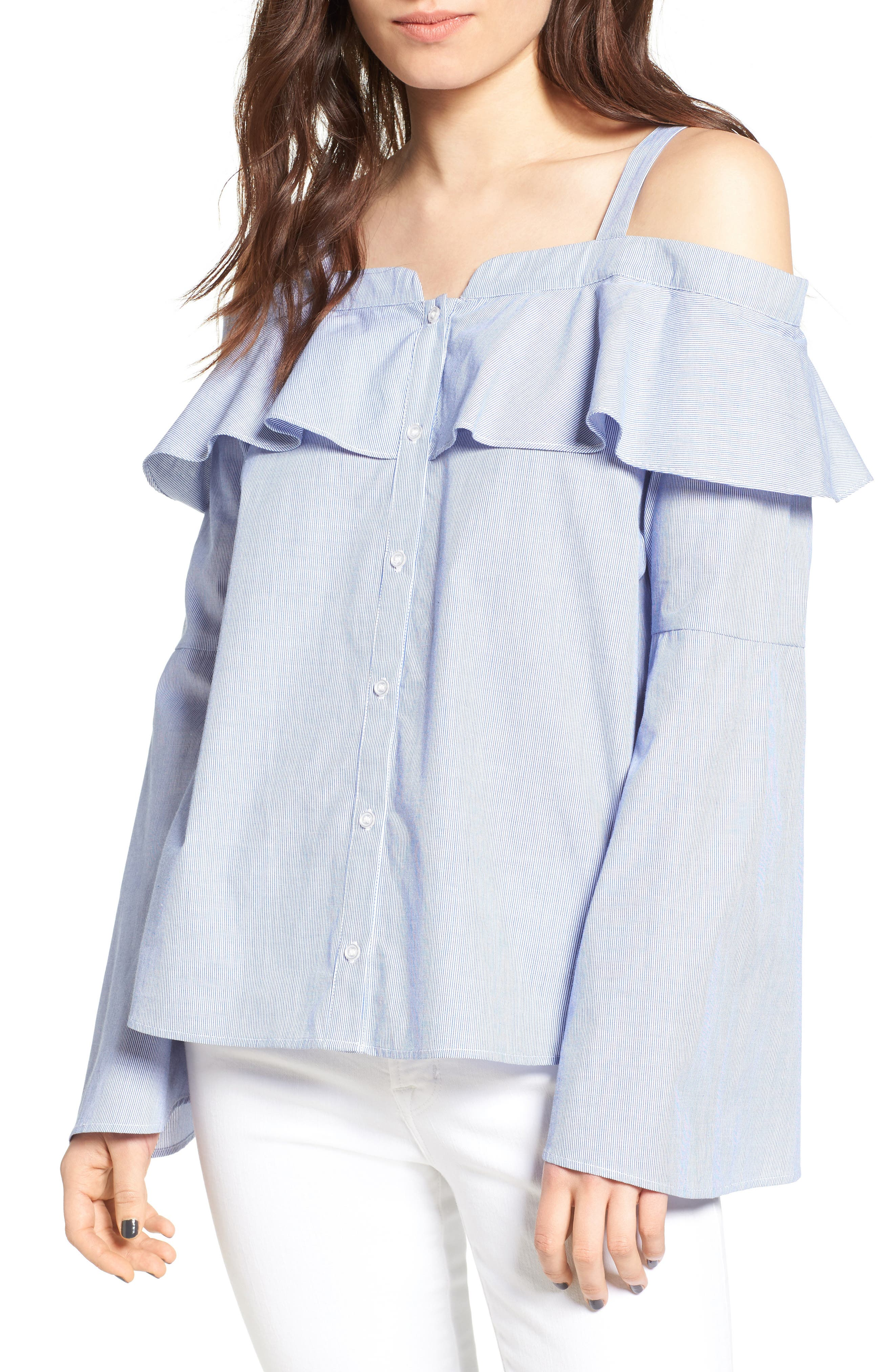 Cold Shoulder Ruffle Blouse,                             Main thumbnail 1, color,                             Blue- White Stripe