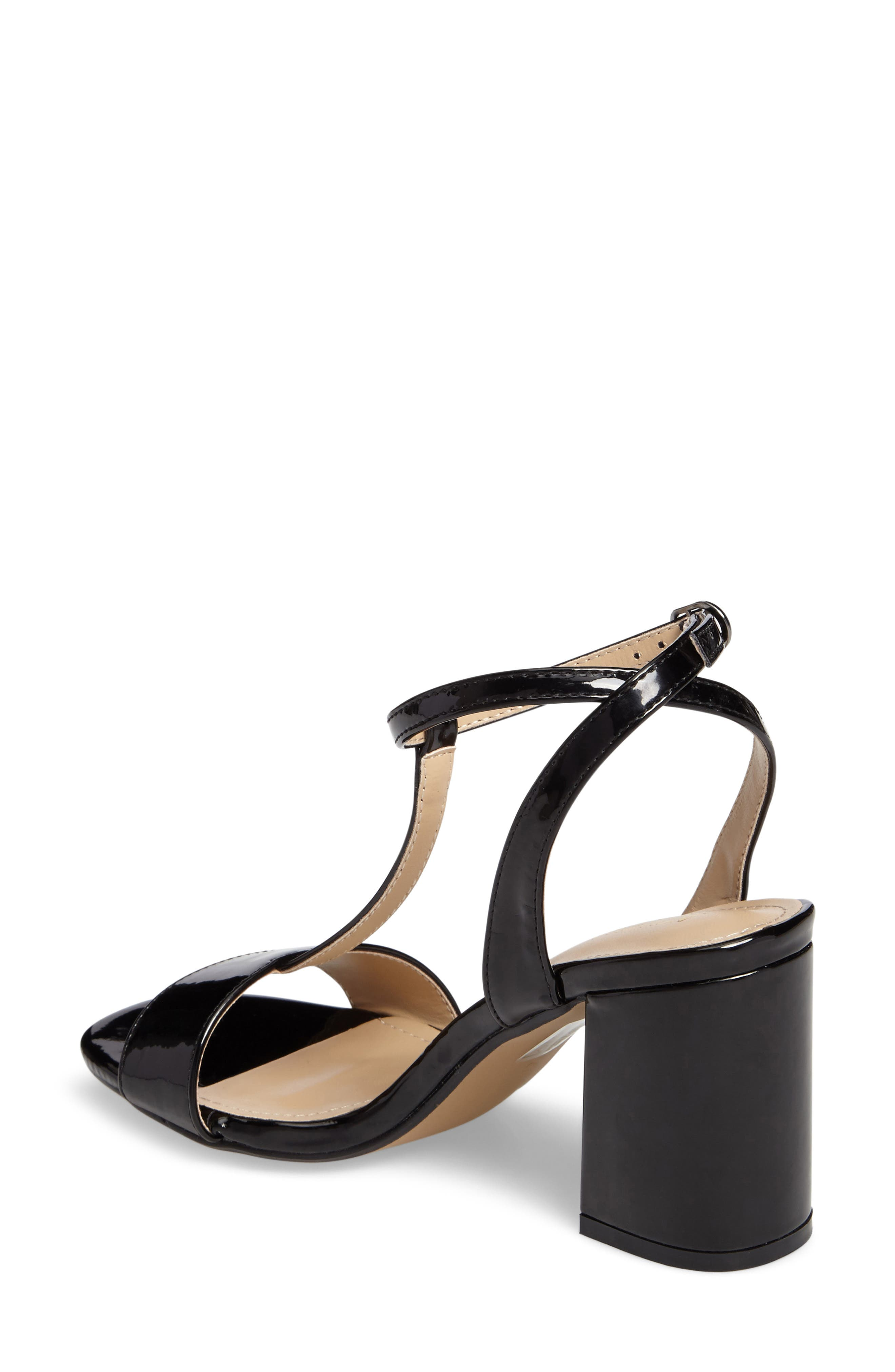 Ditaa T-Strap Sandal,                             Alternate thumbnail 2, color,                             Black Faux Patent