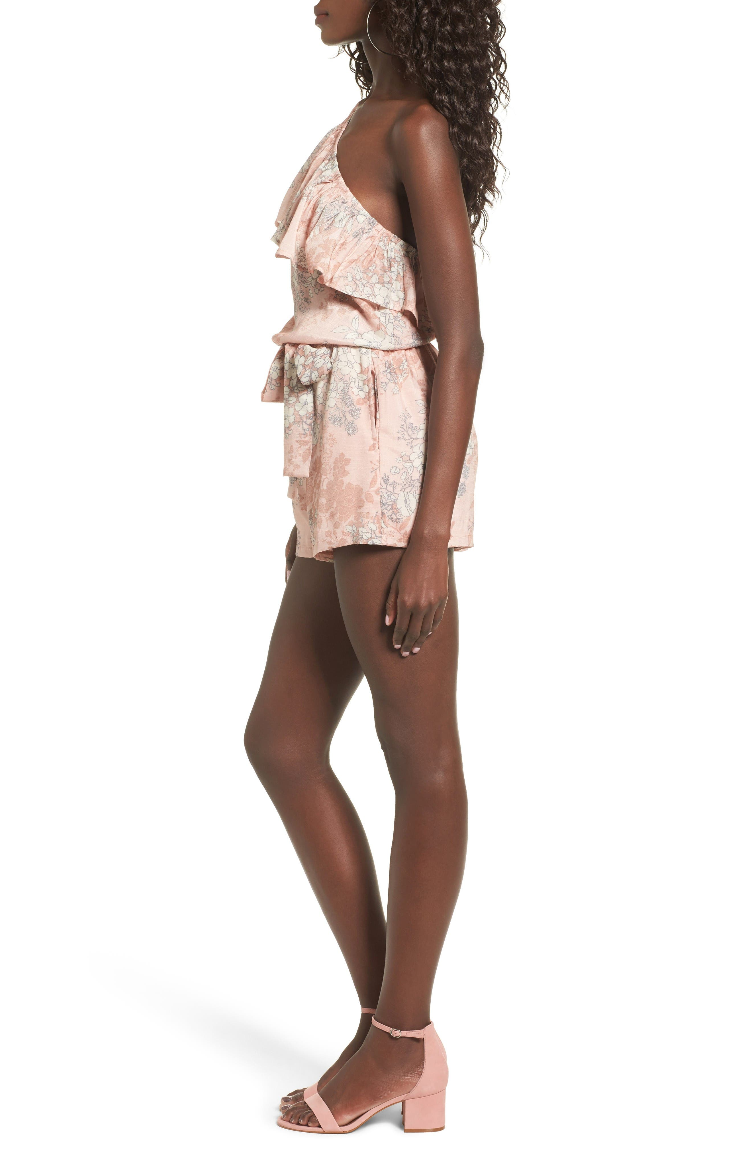 Alternate Image 3  - Mimi Chica Ruffle One-Shoulder Romper