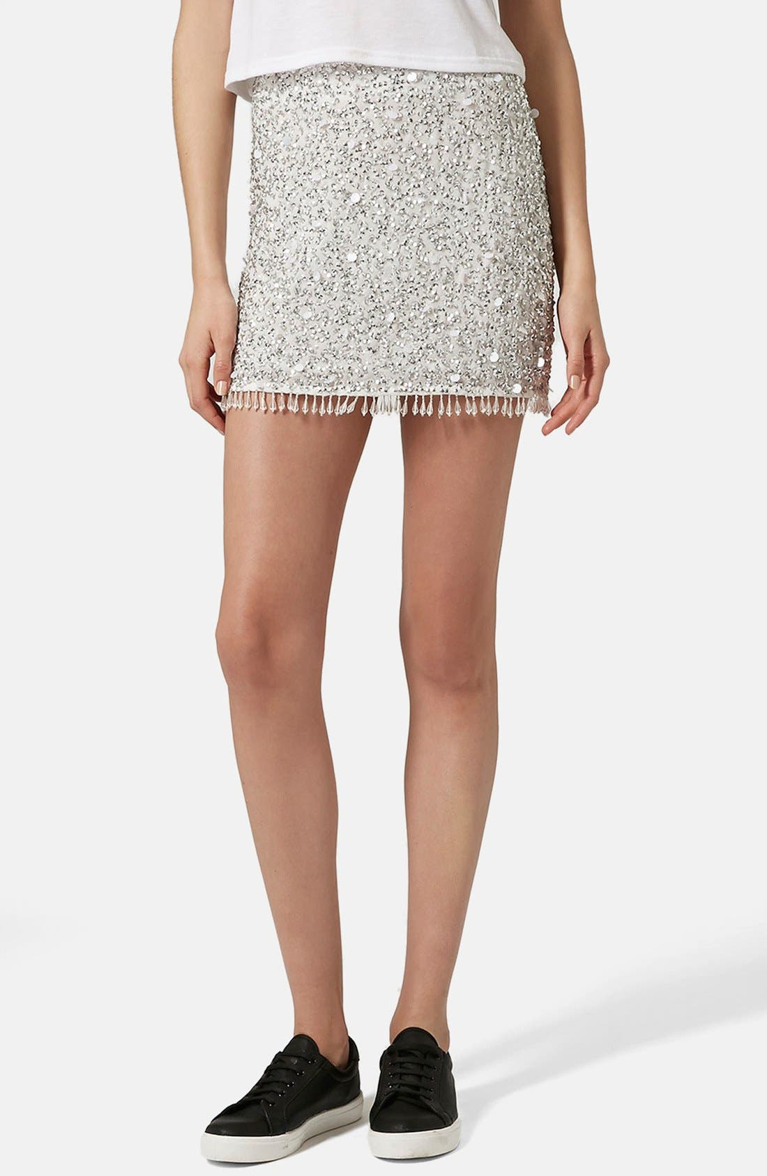 Alternate Image 1 Selected - Topshop Crystal Sequin Miniskirt (Petite)