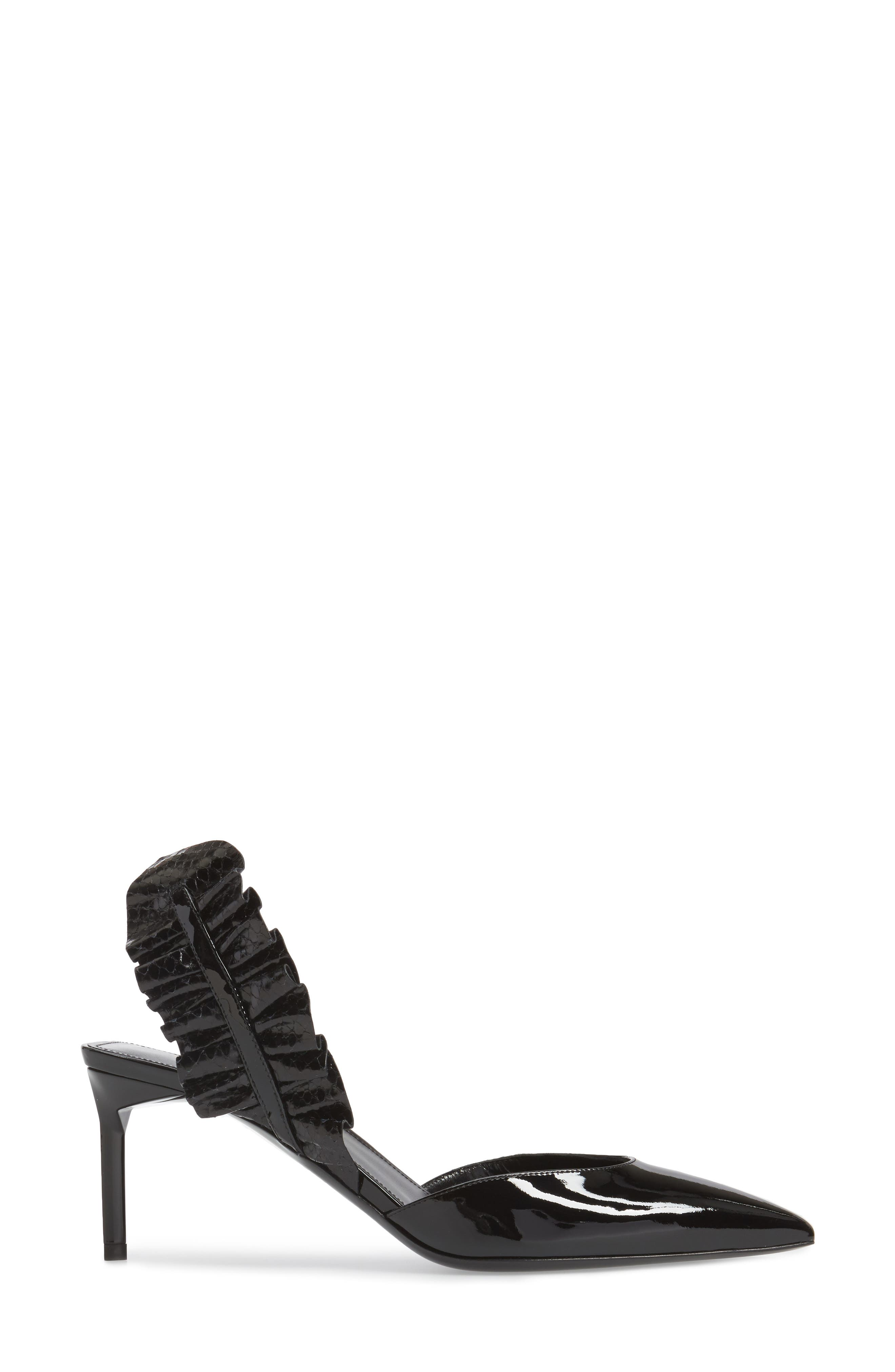 Edie Genuine Snakeskin Ruffle Pump,                             Alternate thumbnail 3, color,                             Black Patent