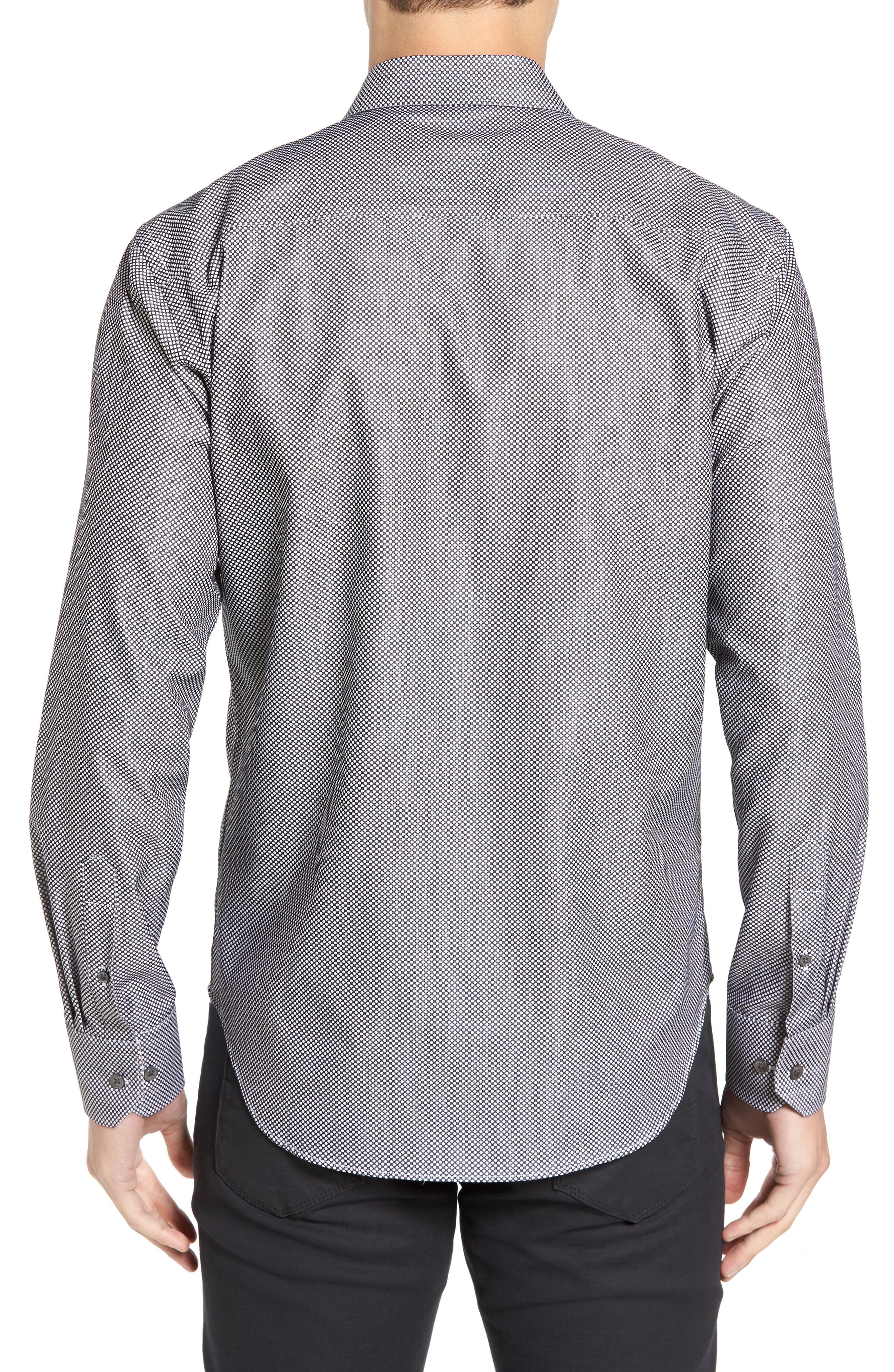 Shaped Fit Textured Sport Shirt,                             Alternate thumbnail 2, color,                             Black
