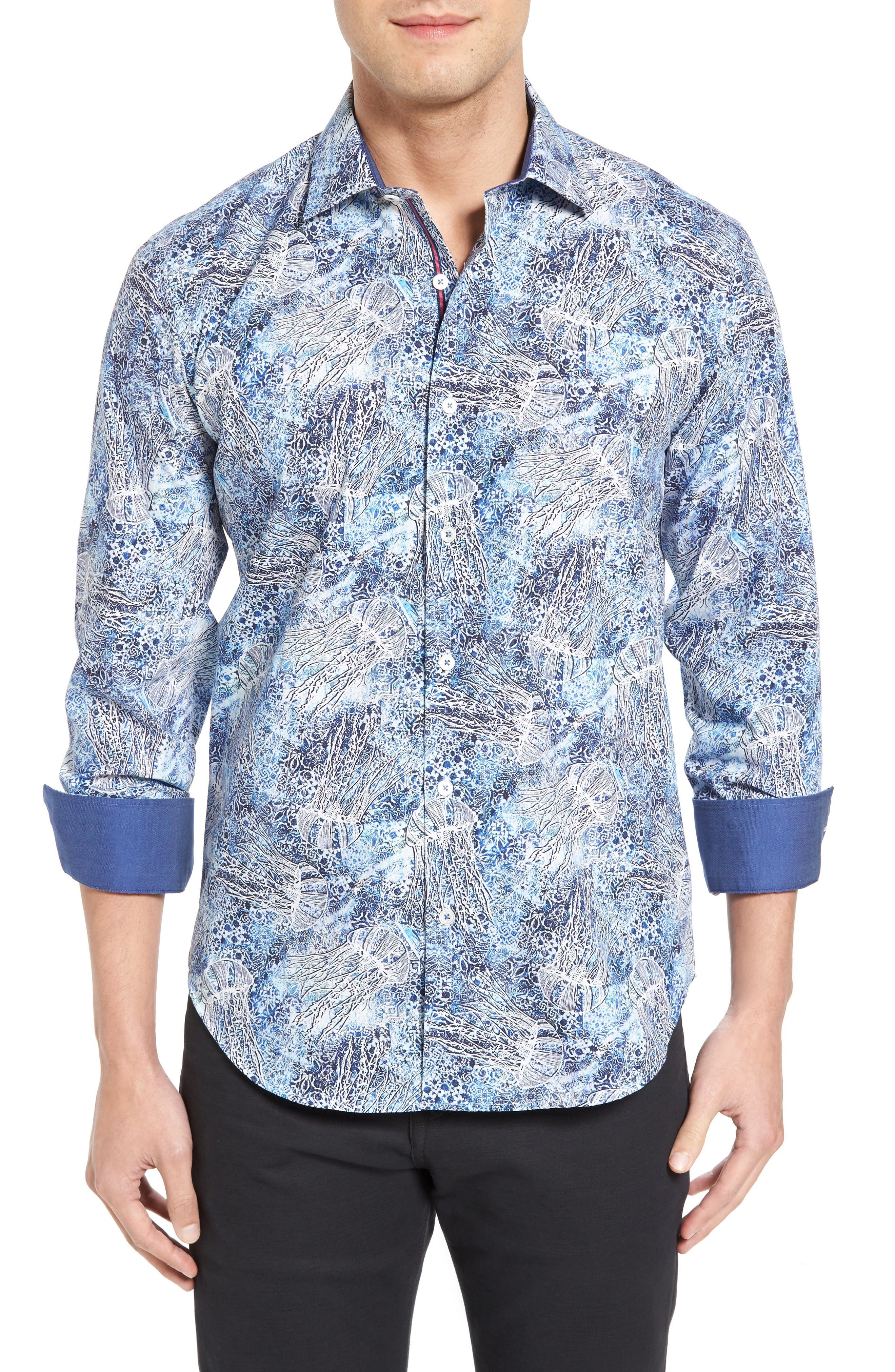 Alternate Image 1 Selected - Bugatchi Shaped Fit Print Sport Shirt