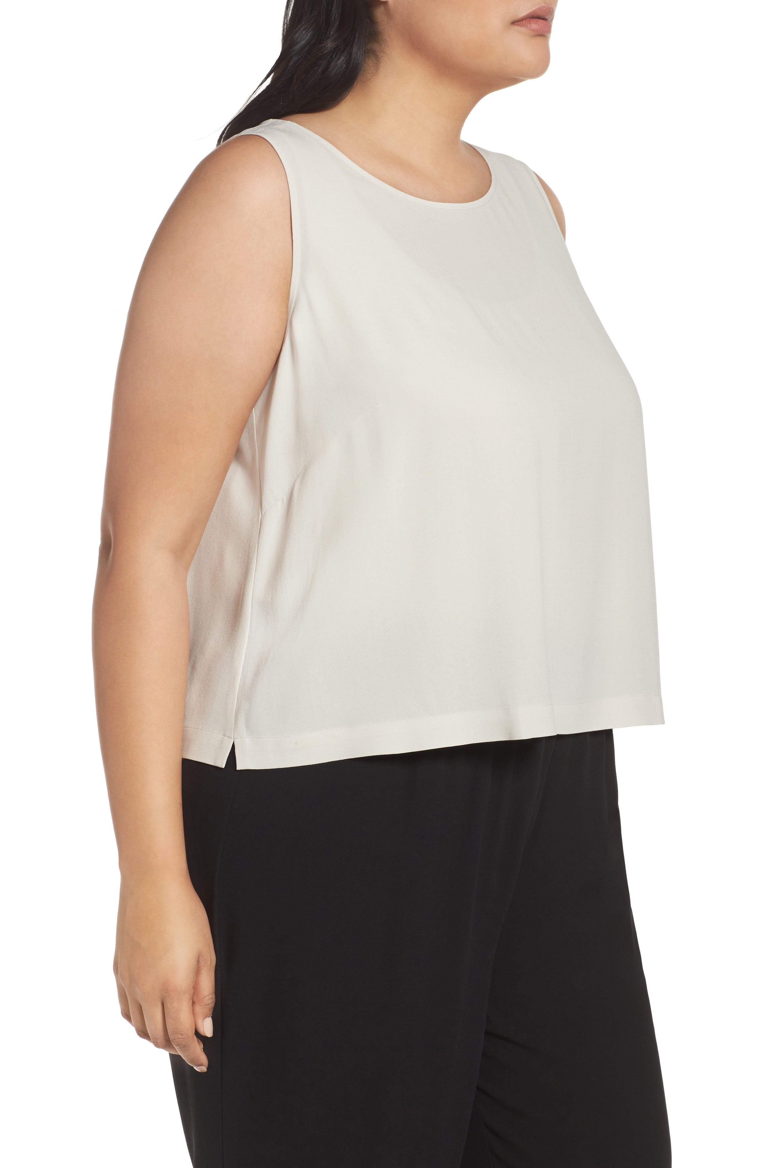 Alternate Image 3  - Eileen Fisher Silk Georgette Crepe Shell (Plus Size)
