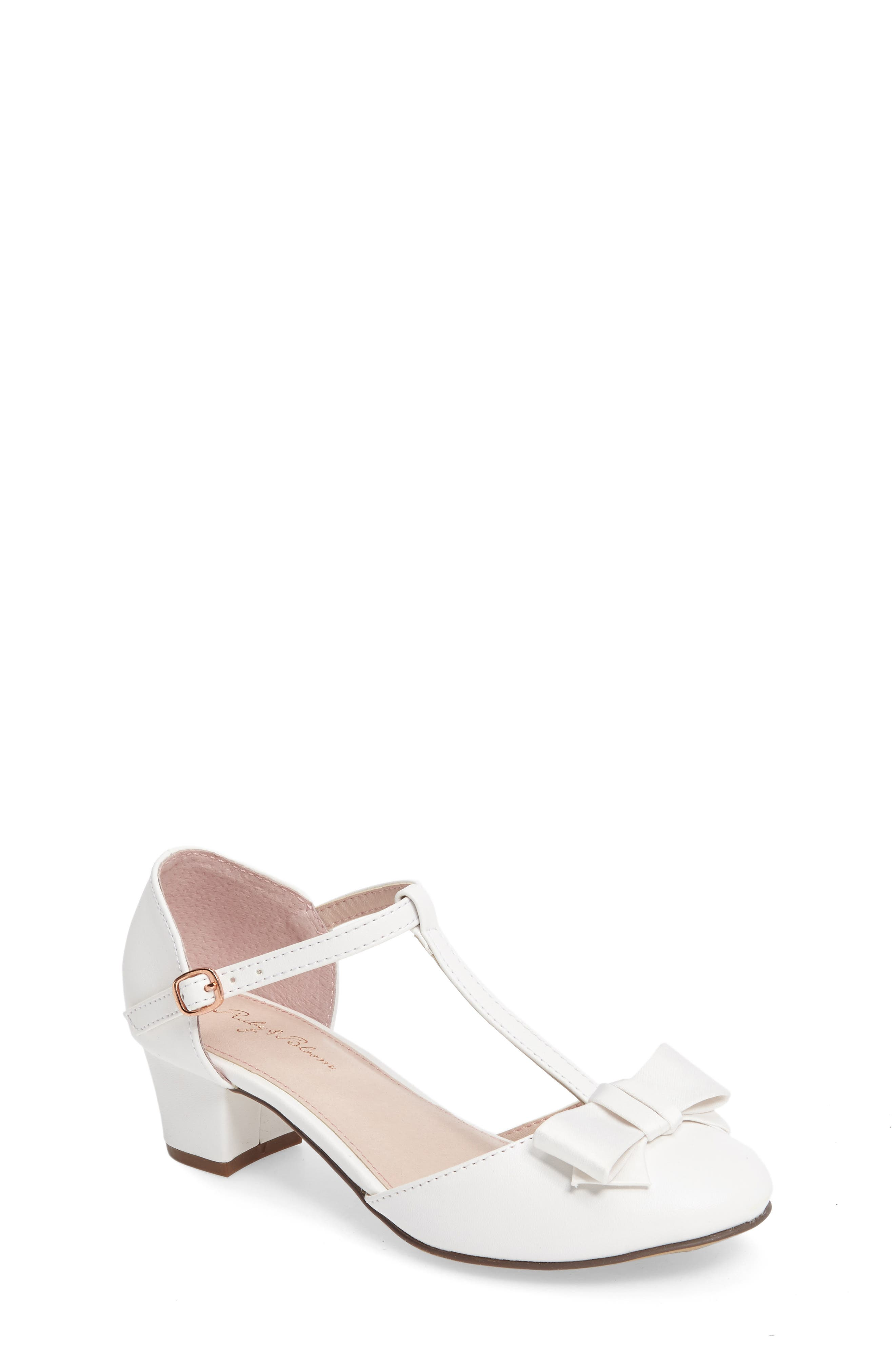 Wylow T-Strap Bow Pump,                             Main thumbnail 1, color,                             White Faux Leather