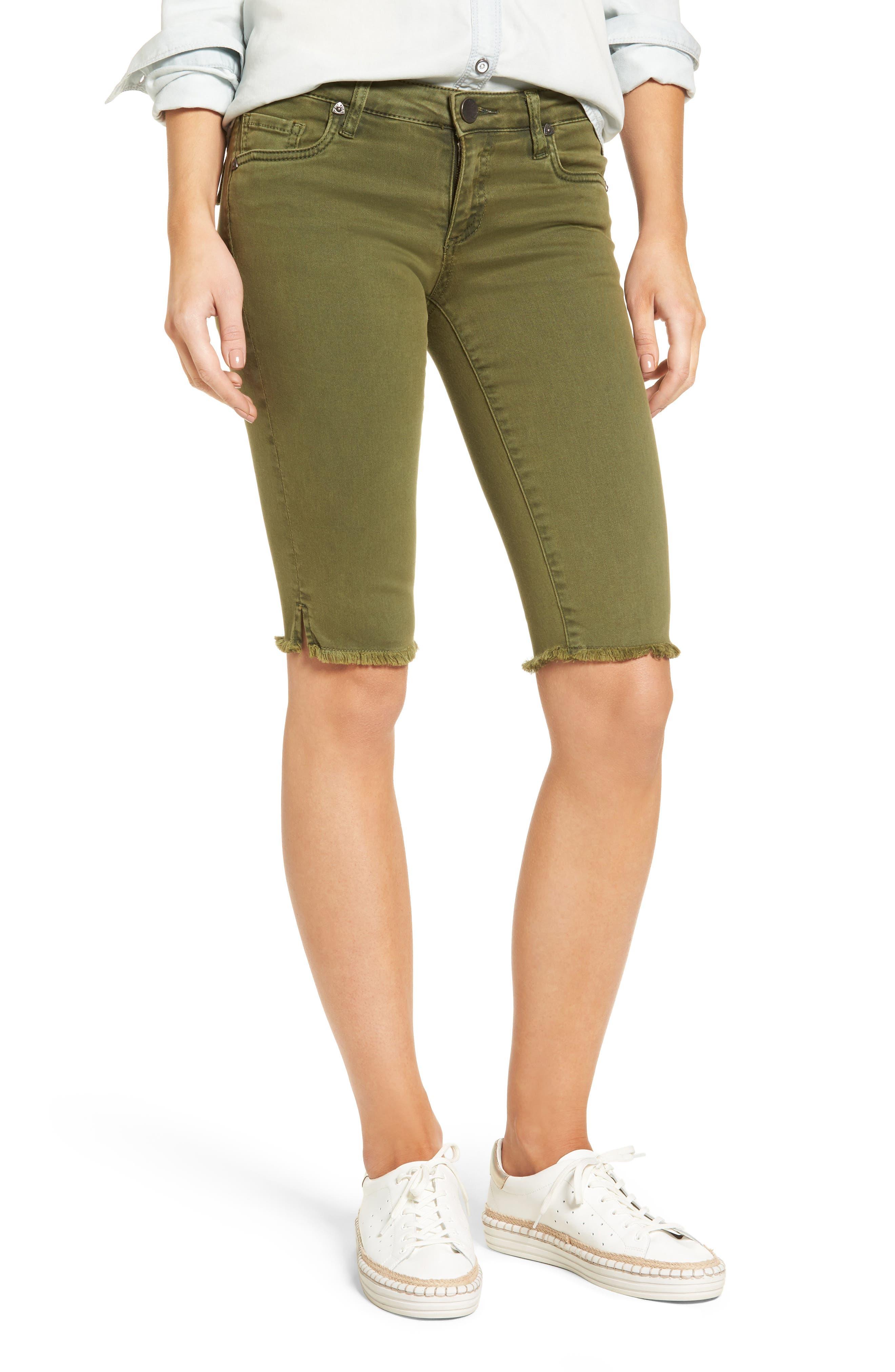 Natalie Frayed Hem Denim Bermuda Shorts,                             Main thumbnail 1, color,                             Olive