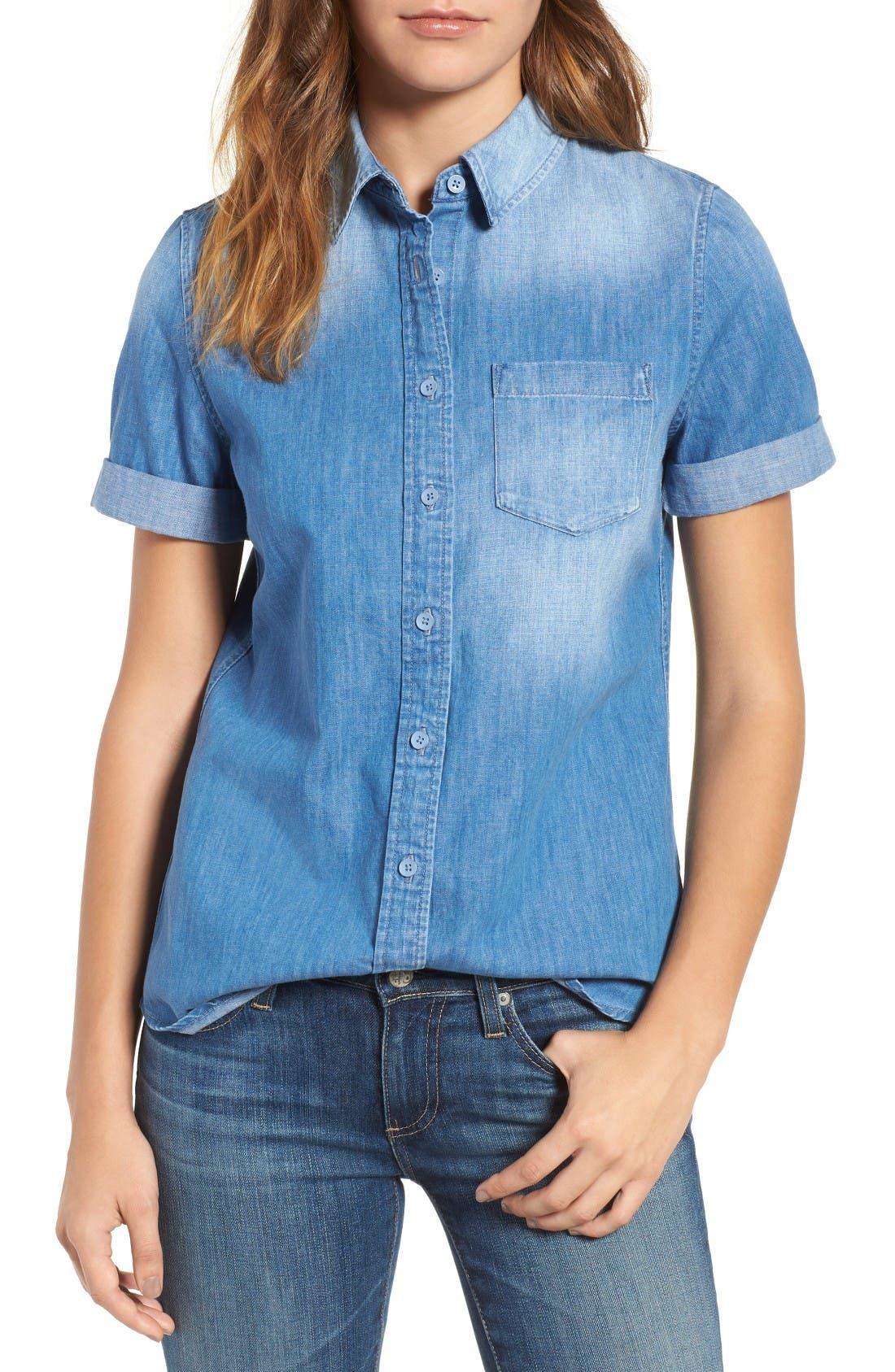 Easton Denim Shirt,                         Main,                         color, Turbulence