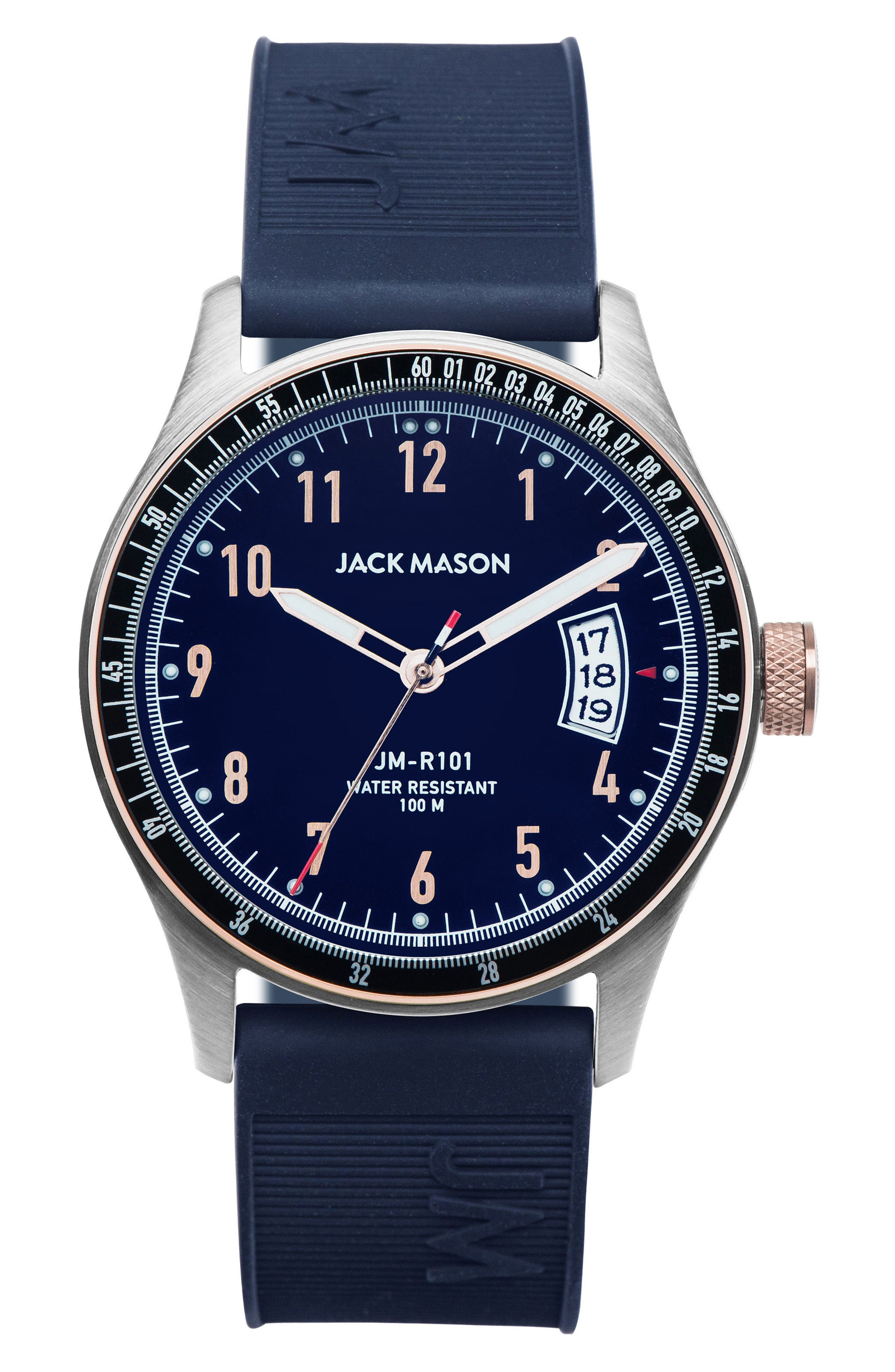 JACK MASON Racing Silicone Strap Watch, 46mm
