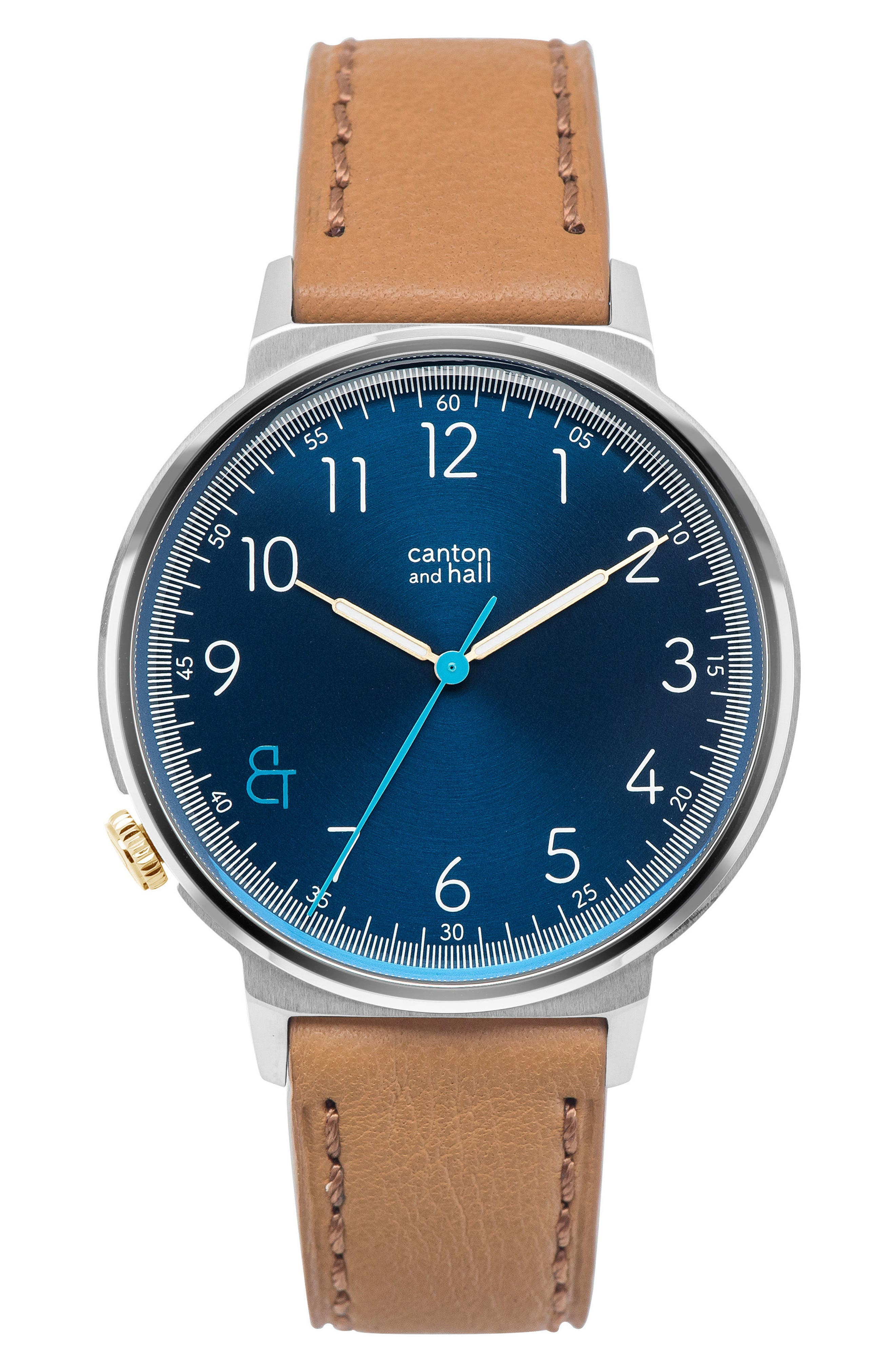 Leather Strap Watch, 44mm,                             Main thumbnail 1, color,                             Navy/ Tan