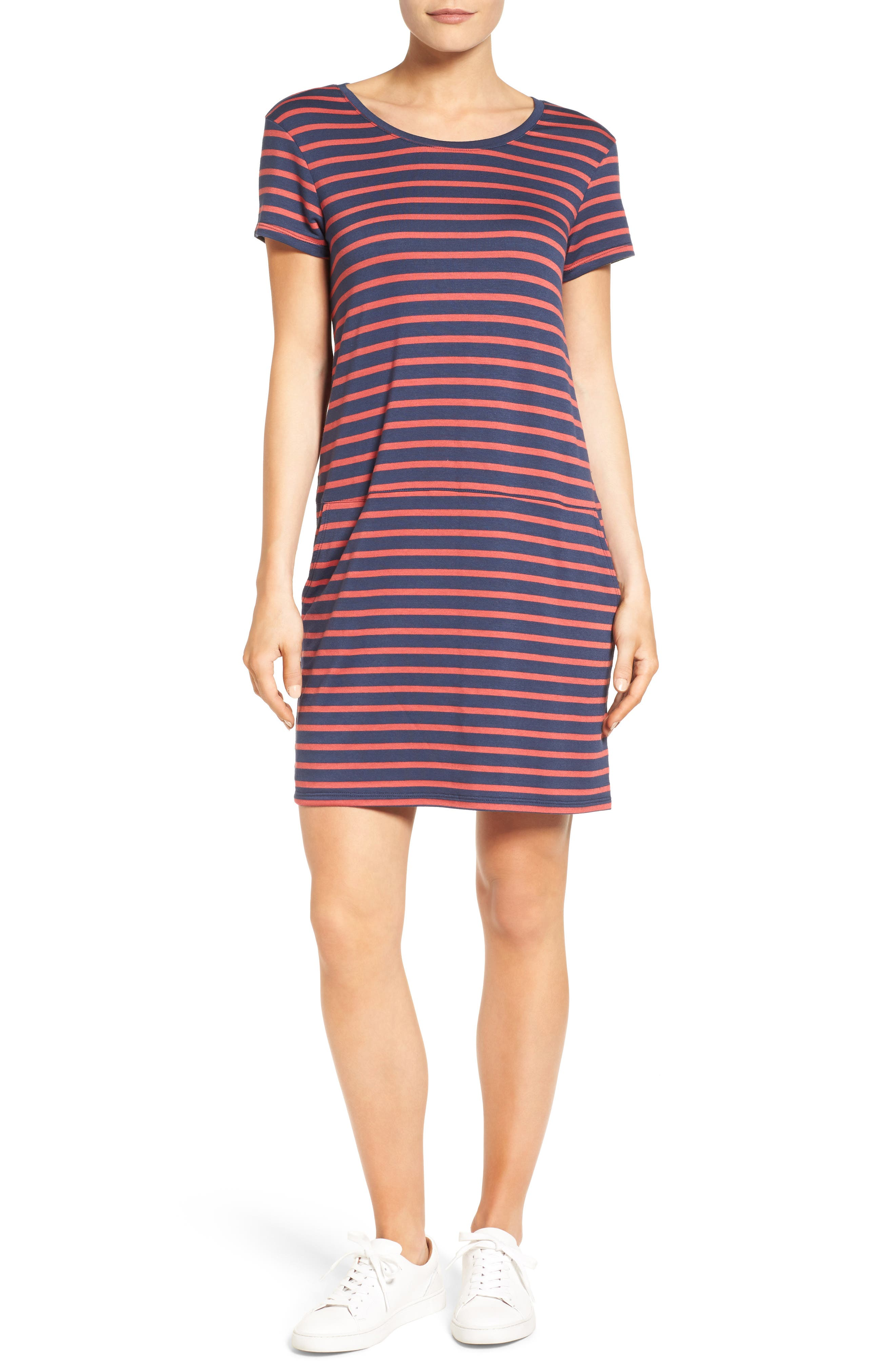 Knit Shift Dress,                         Main,                         color, Navy- Red Stripe