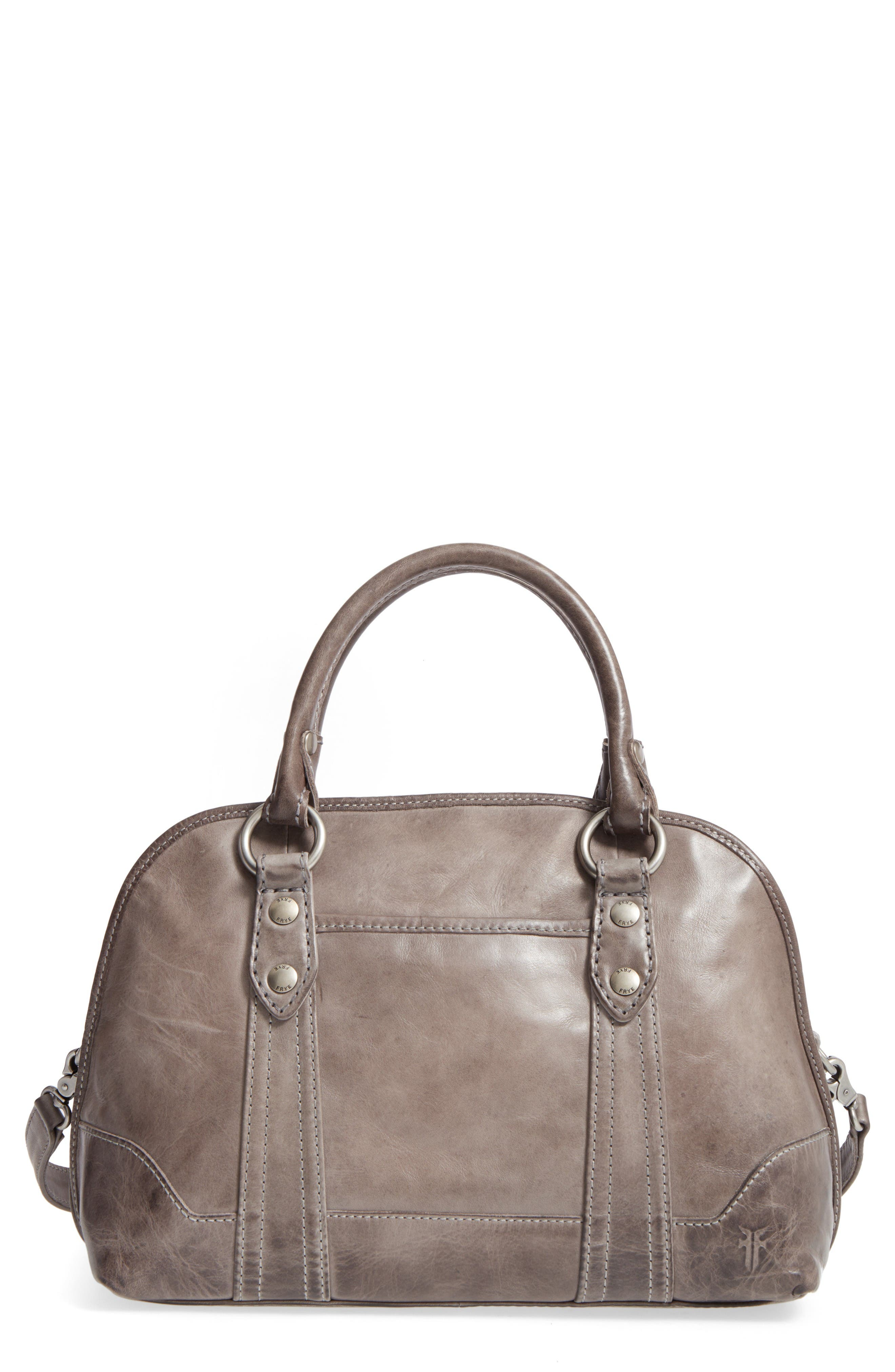 'Melissa' Domed Leather Satchel,                             Main thumbnail 1, color,                             Ice