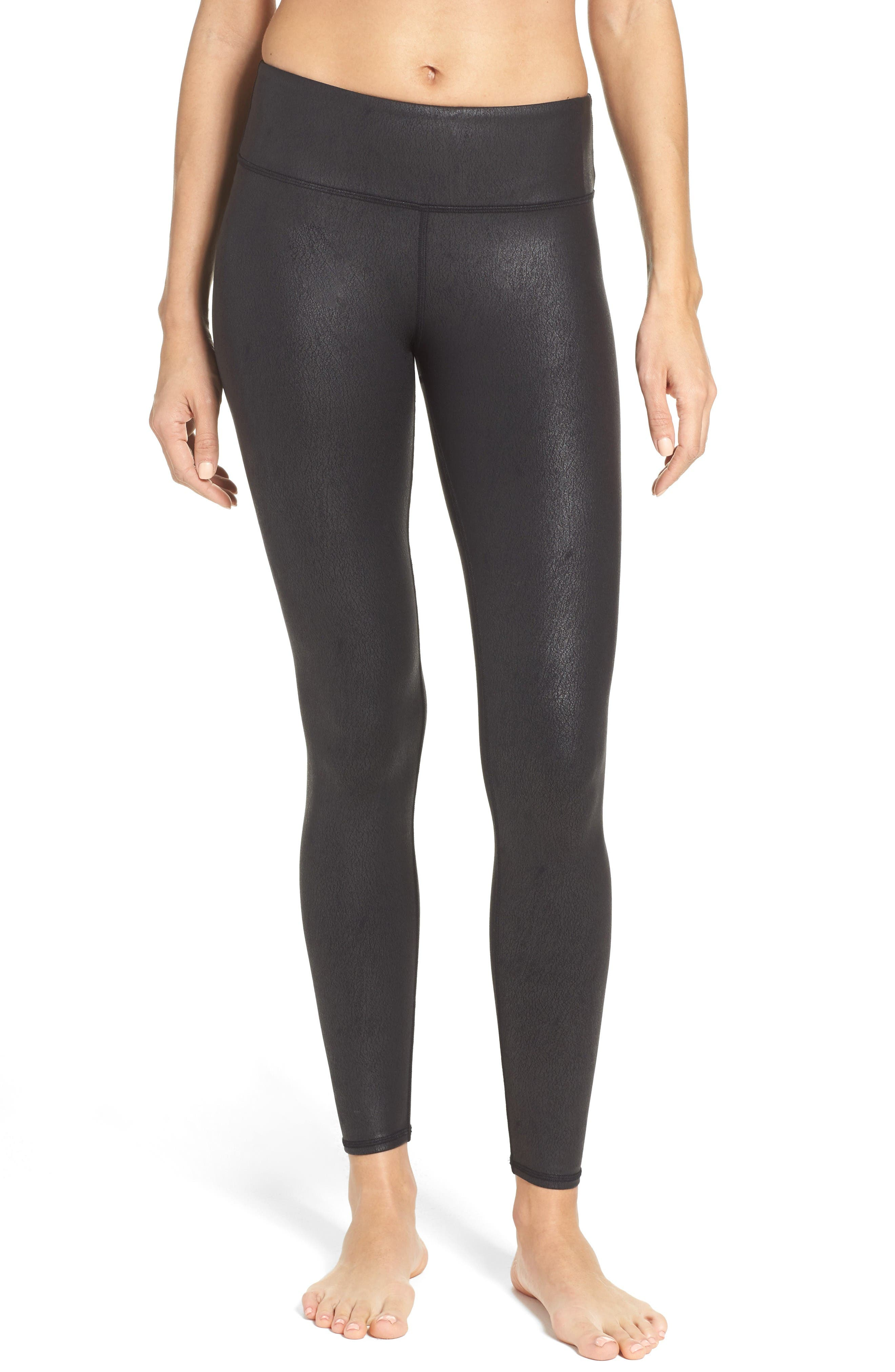 'Airbrushed' Leggings,                         Main,                         color, Black Performance Leather