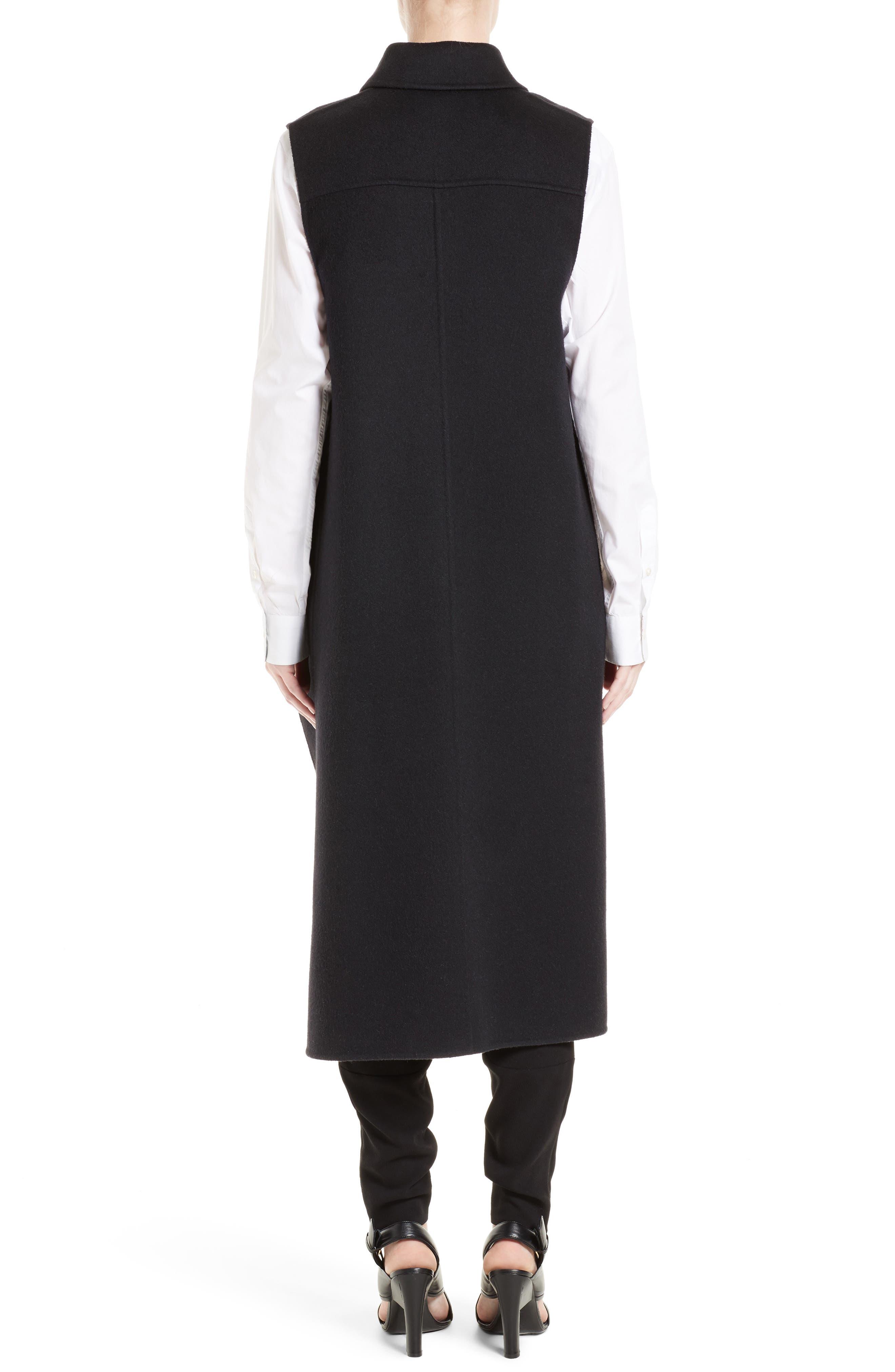 Wool, Alpaca & Cashmere Asymmetrical Vest,                             Alternate thumbnail 2, color,                             Black