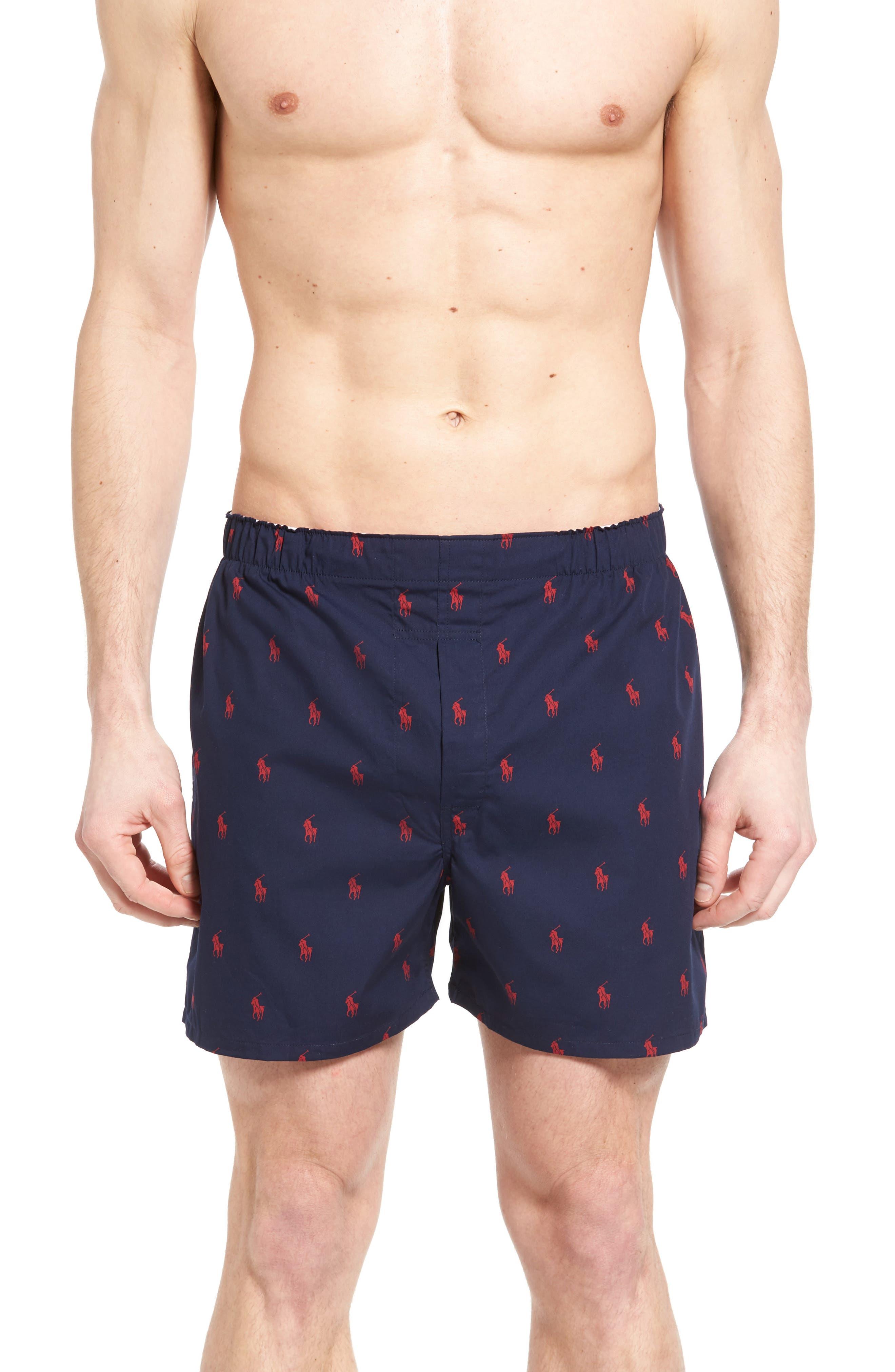 3-Pack Woven Cotton Boxers,                             Alternate thumbnail 2, color,                             Navy/ Red Plaid/ Blue Plaid