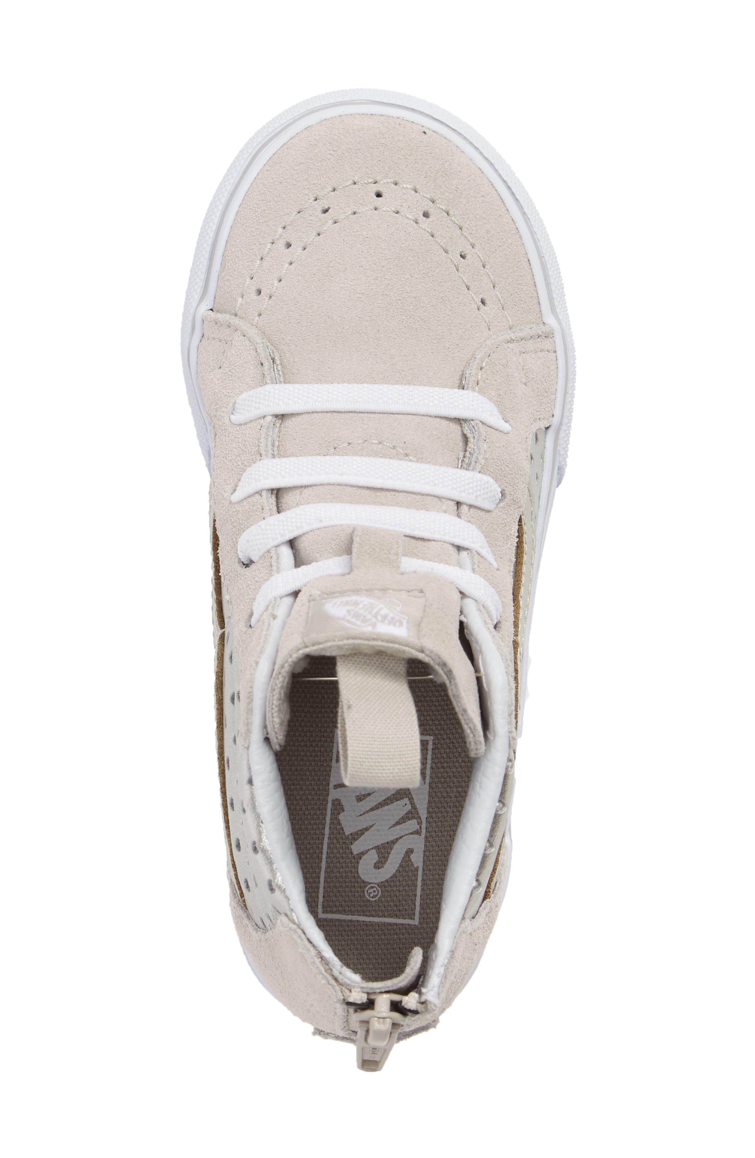 Sk8-Hi Zip Sneaker,                             Alternate thumbnail 4, color,                             Silver Metallic Heart Suede