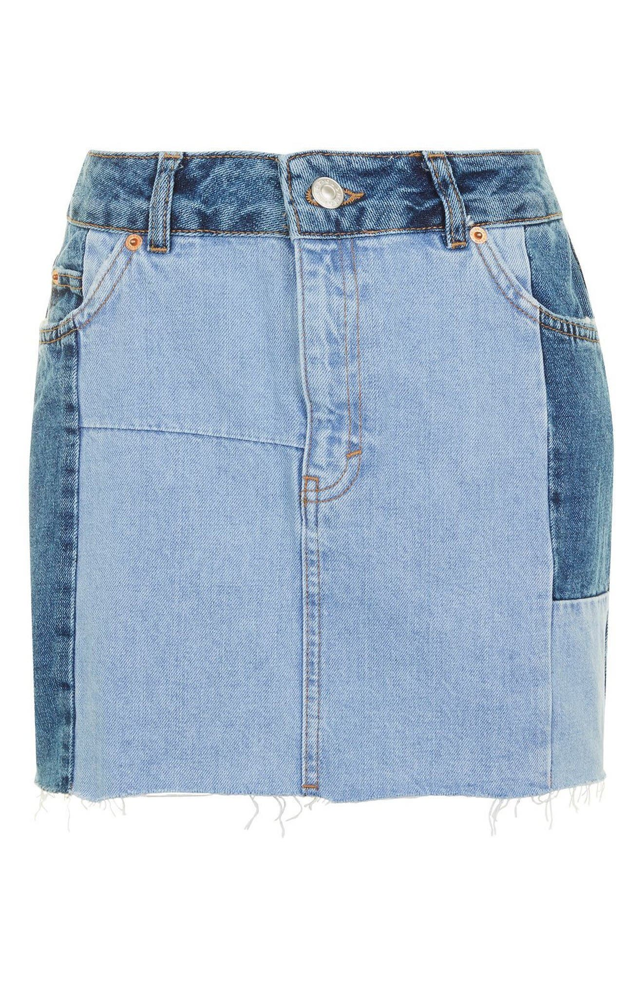 Alternate Image 4  - Topshop Colorblock Denim Miniskirt