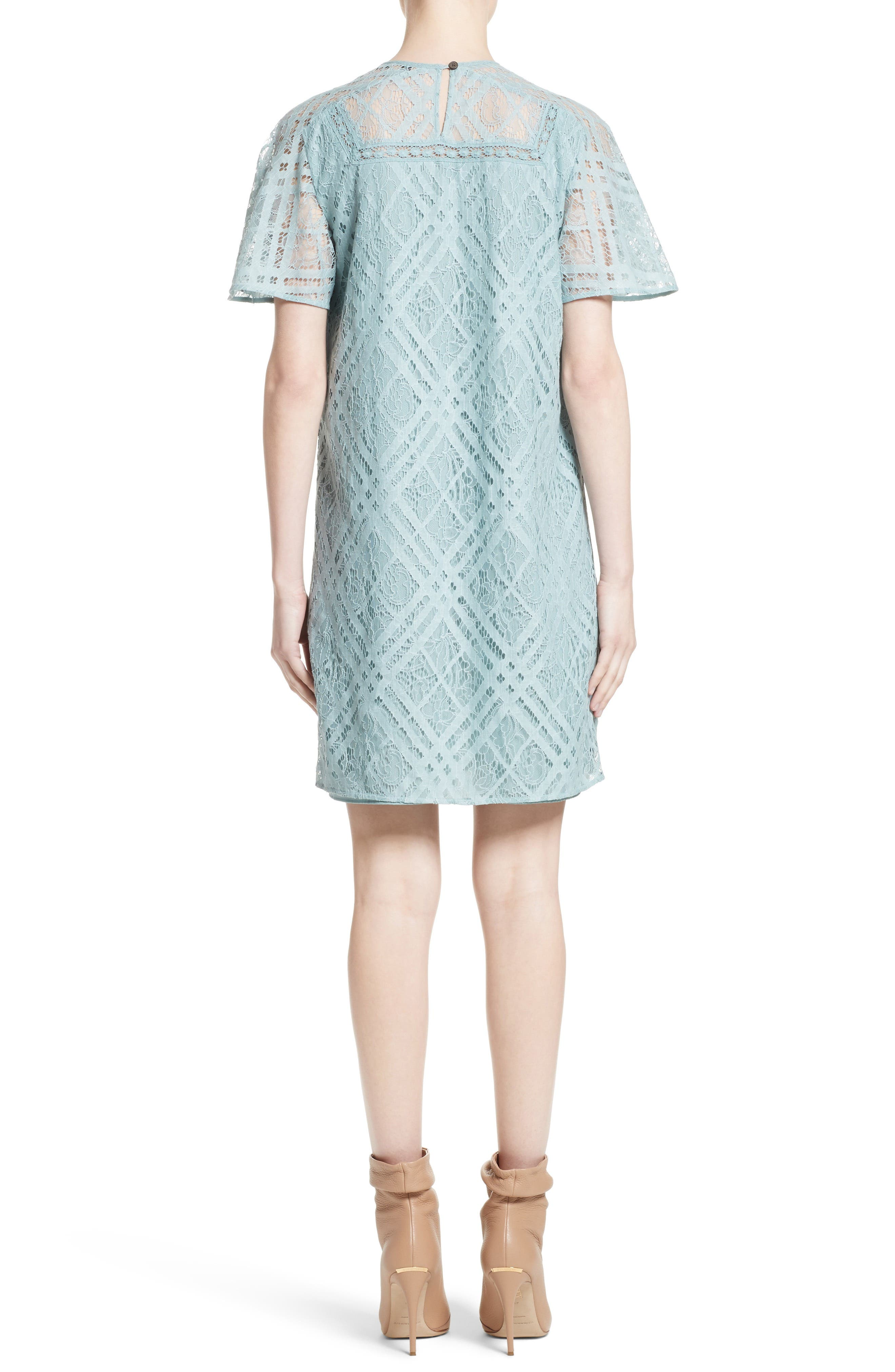 Keri Floral Check Lace Dress,                             Alternate thumbnail 2, color,                             Pale Slate Blue
