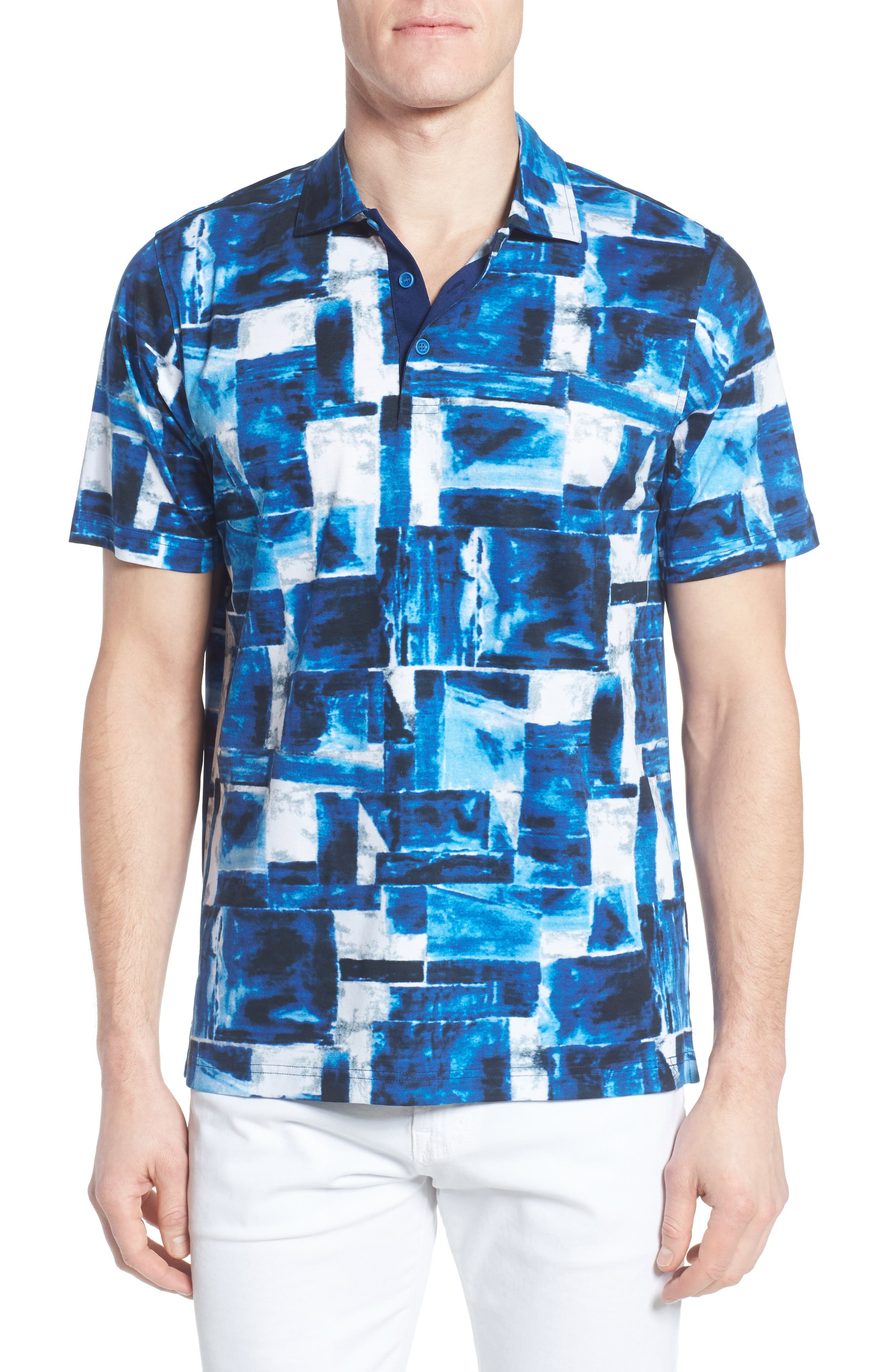 Print Jersey Polo,                         Main,                         color, Night Blue