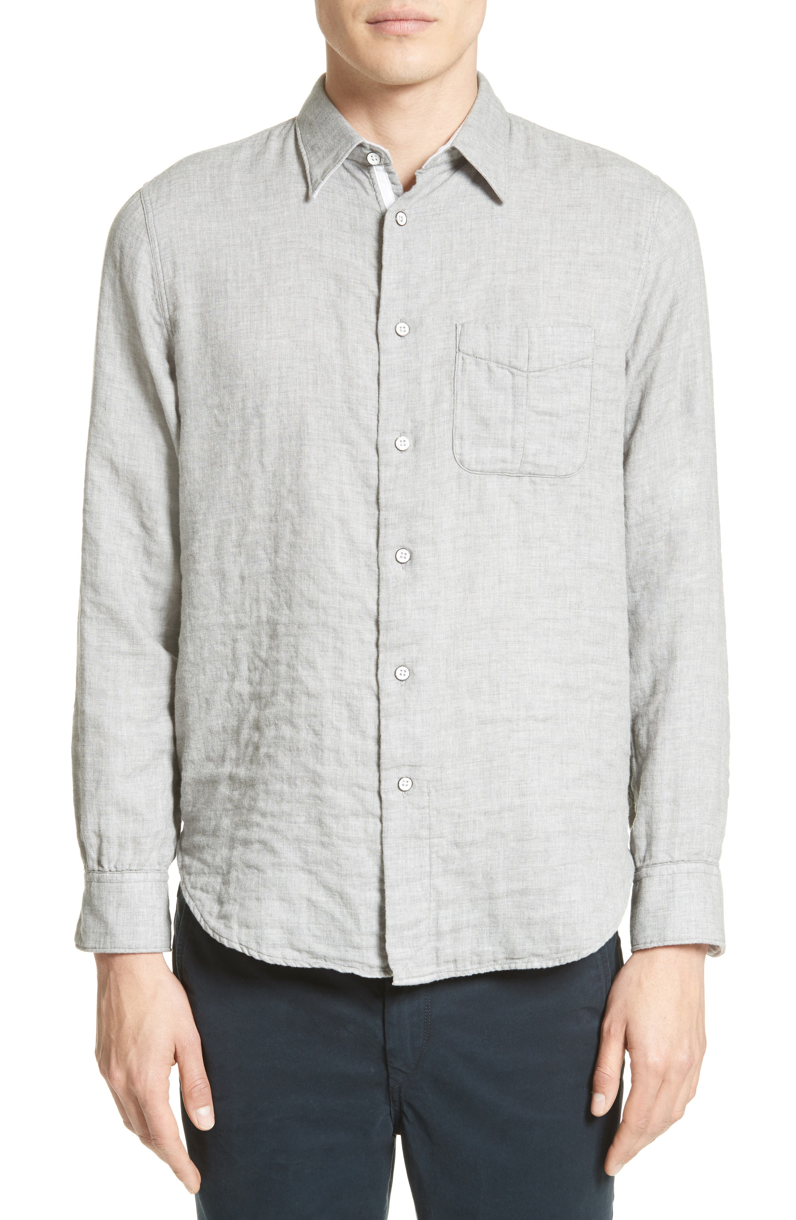 Beach Trim Fit Sport Shirt,                         Main,                         color, Grey