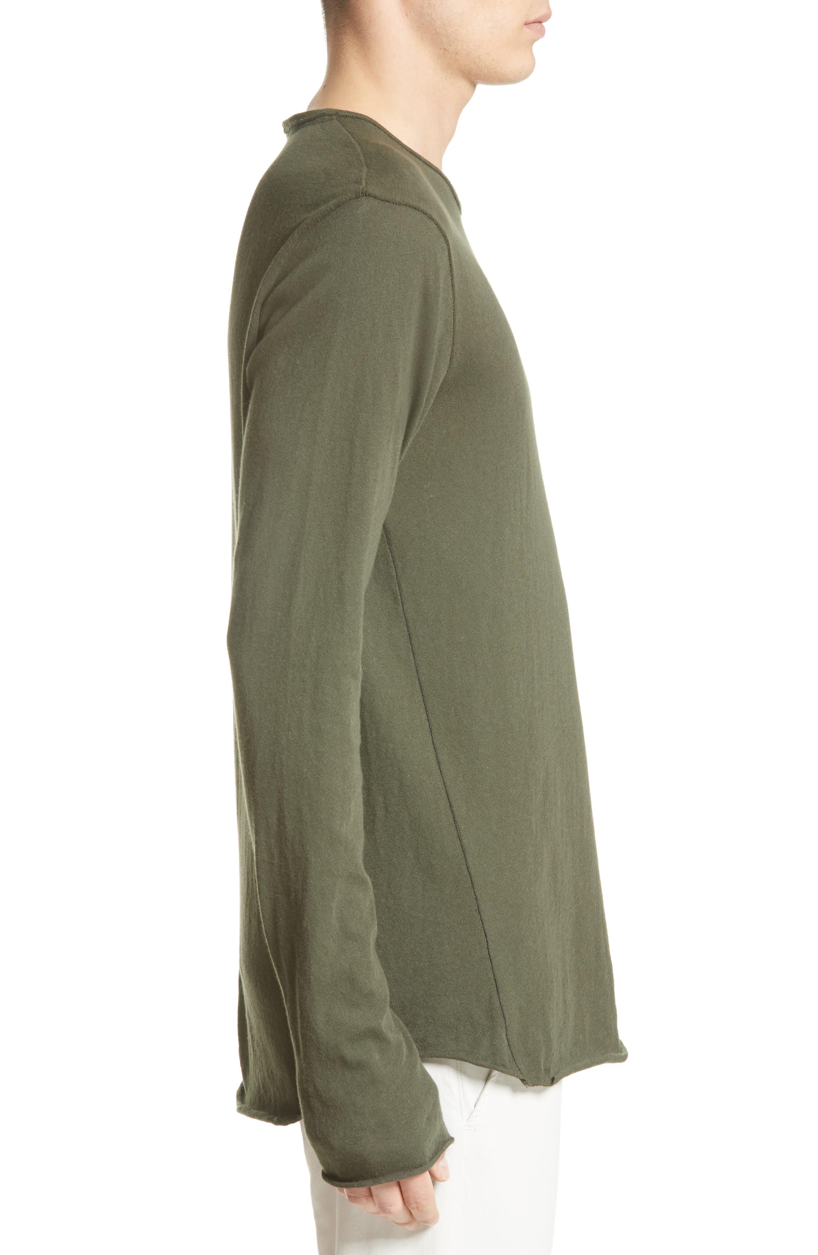Hartley Cotton & Linen T-Shirt,                             Alternate thumbnail 3, color,                             Dark Olive
