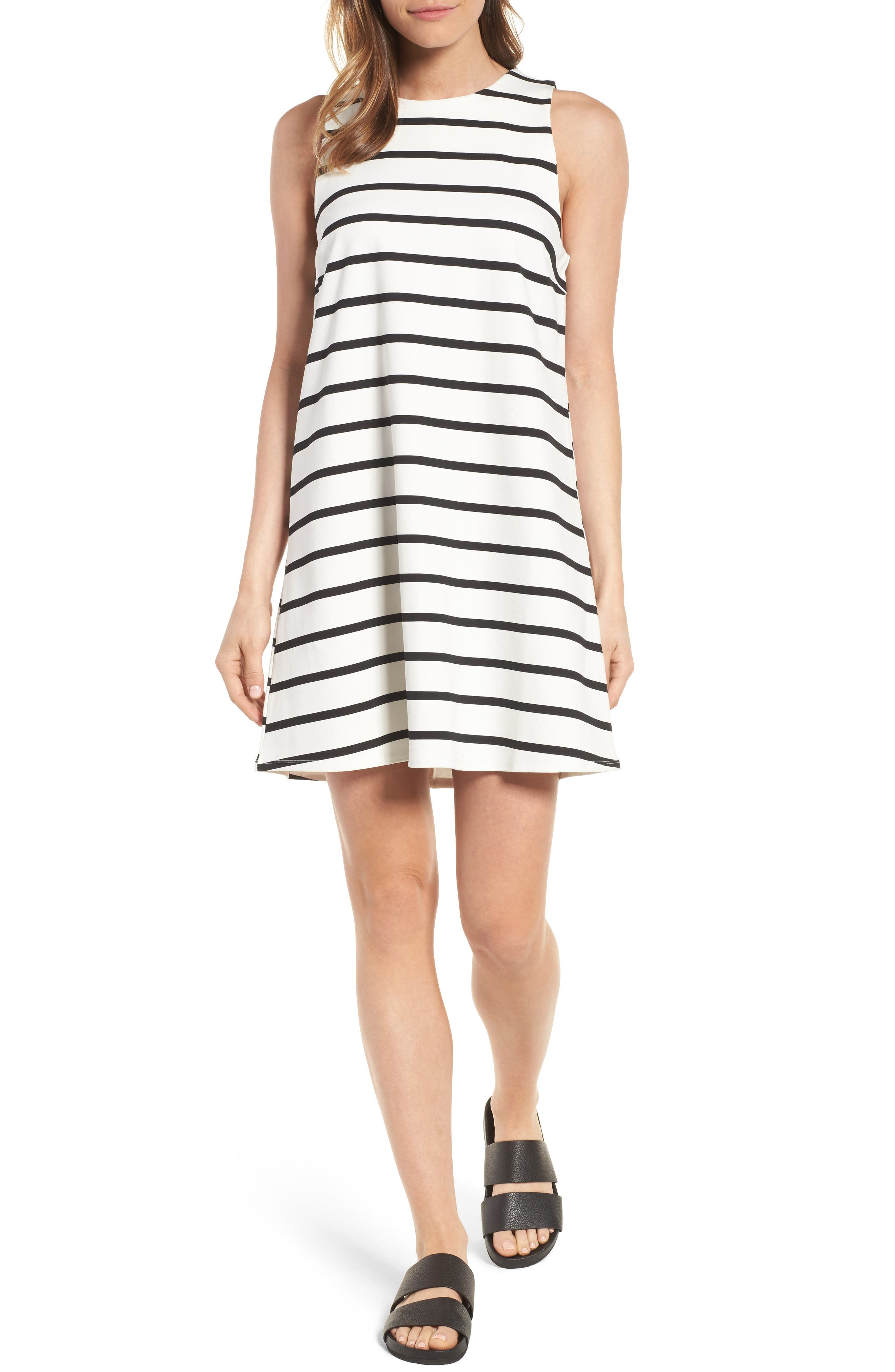 Stripe A-Line Dress,                         Main,                         color, Warm White/ Black