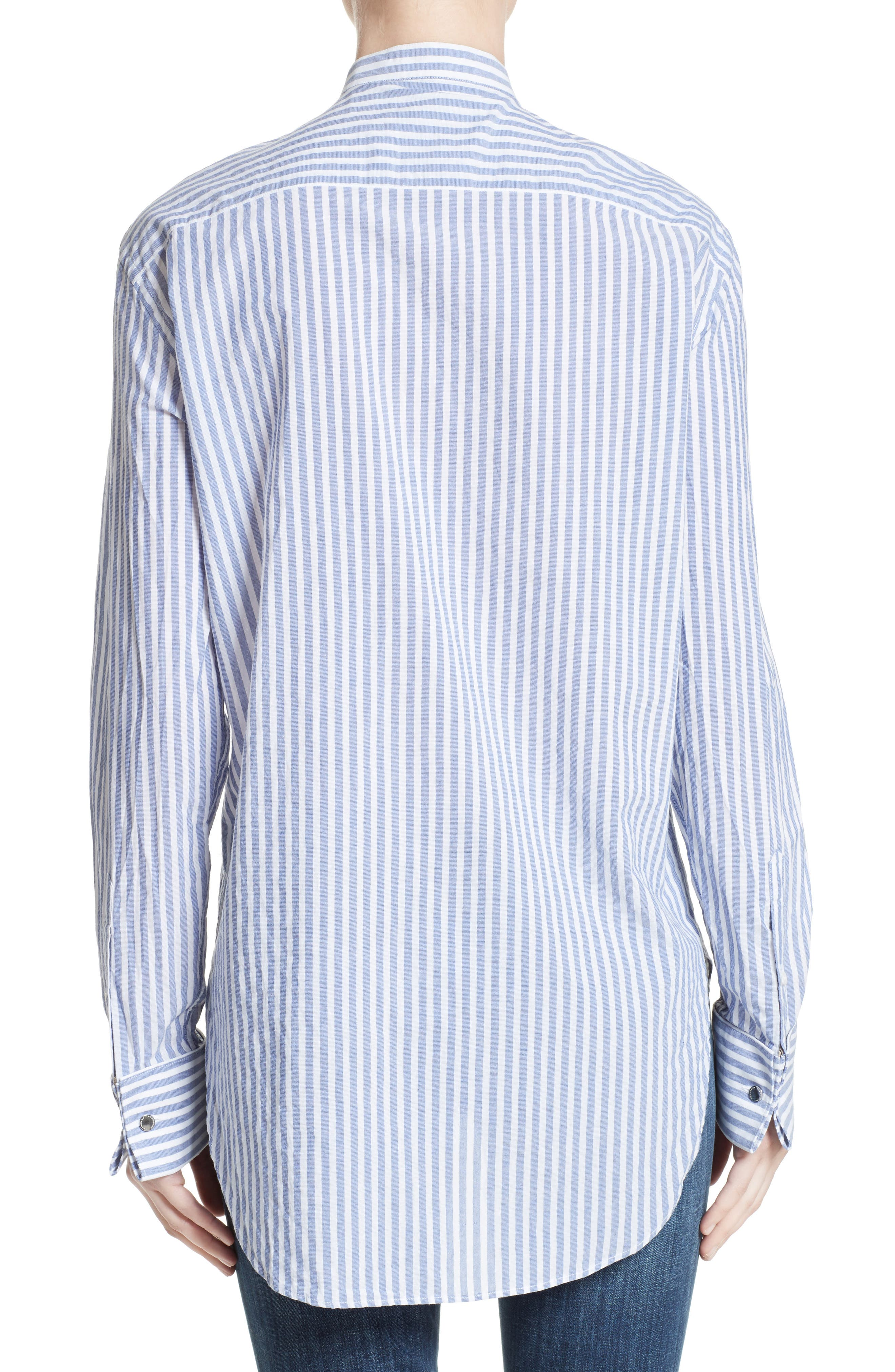 Benfleet Stripe Cotton Top,                             Alternate thumbnail 2, color,                             Pale Blue/ White