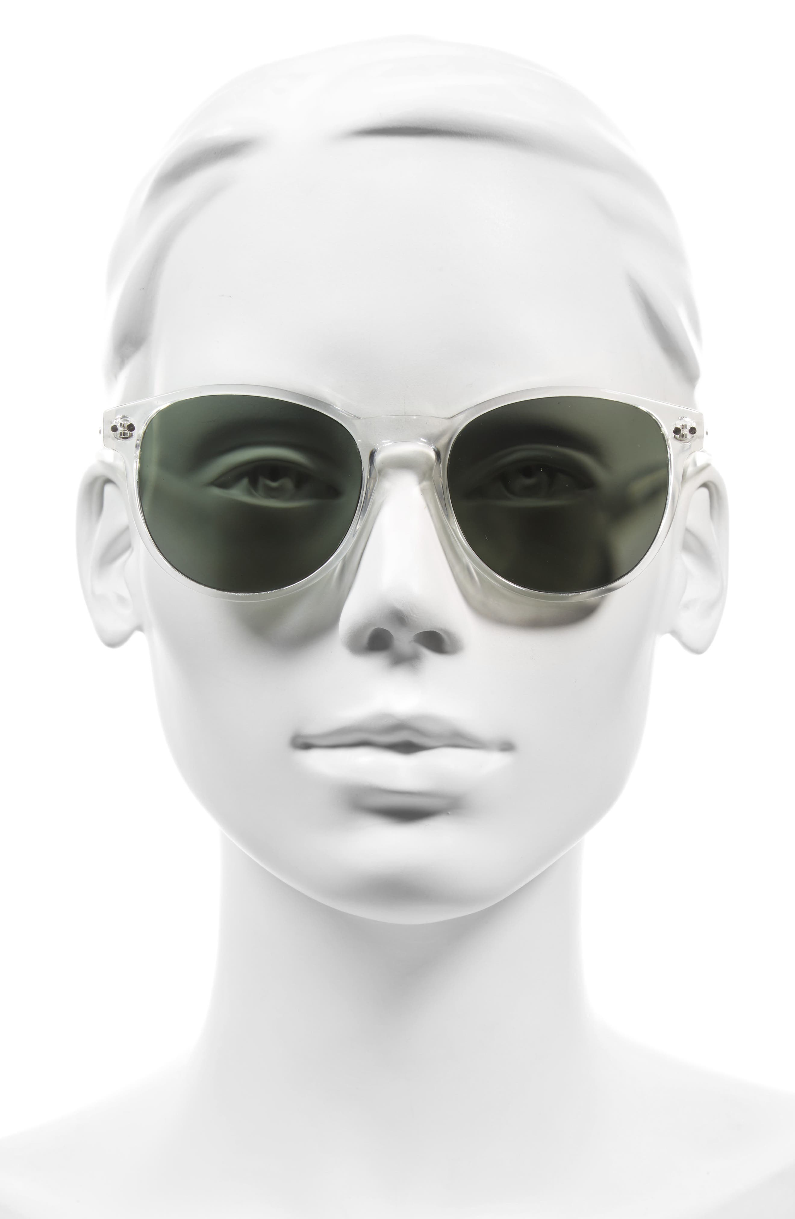 Daily 57mm Sunglasses,                             Alternate thumbnail 2, color,                             Crystal