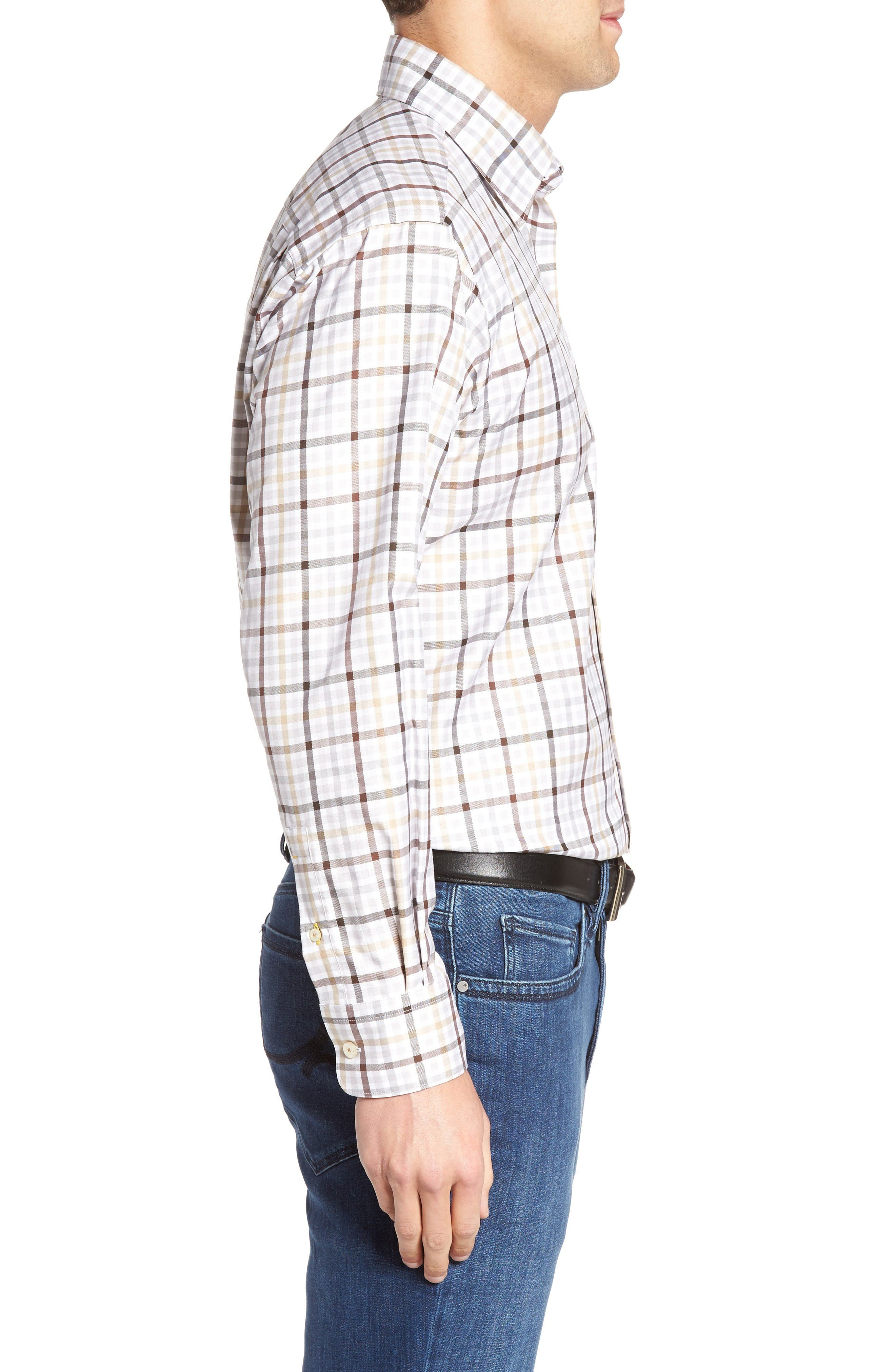 Anderson Classic Fit Plaid Micro Twill Sport Shirt,                             Alternate thumbnail 3, color,                             201