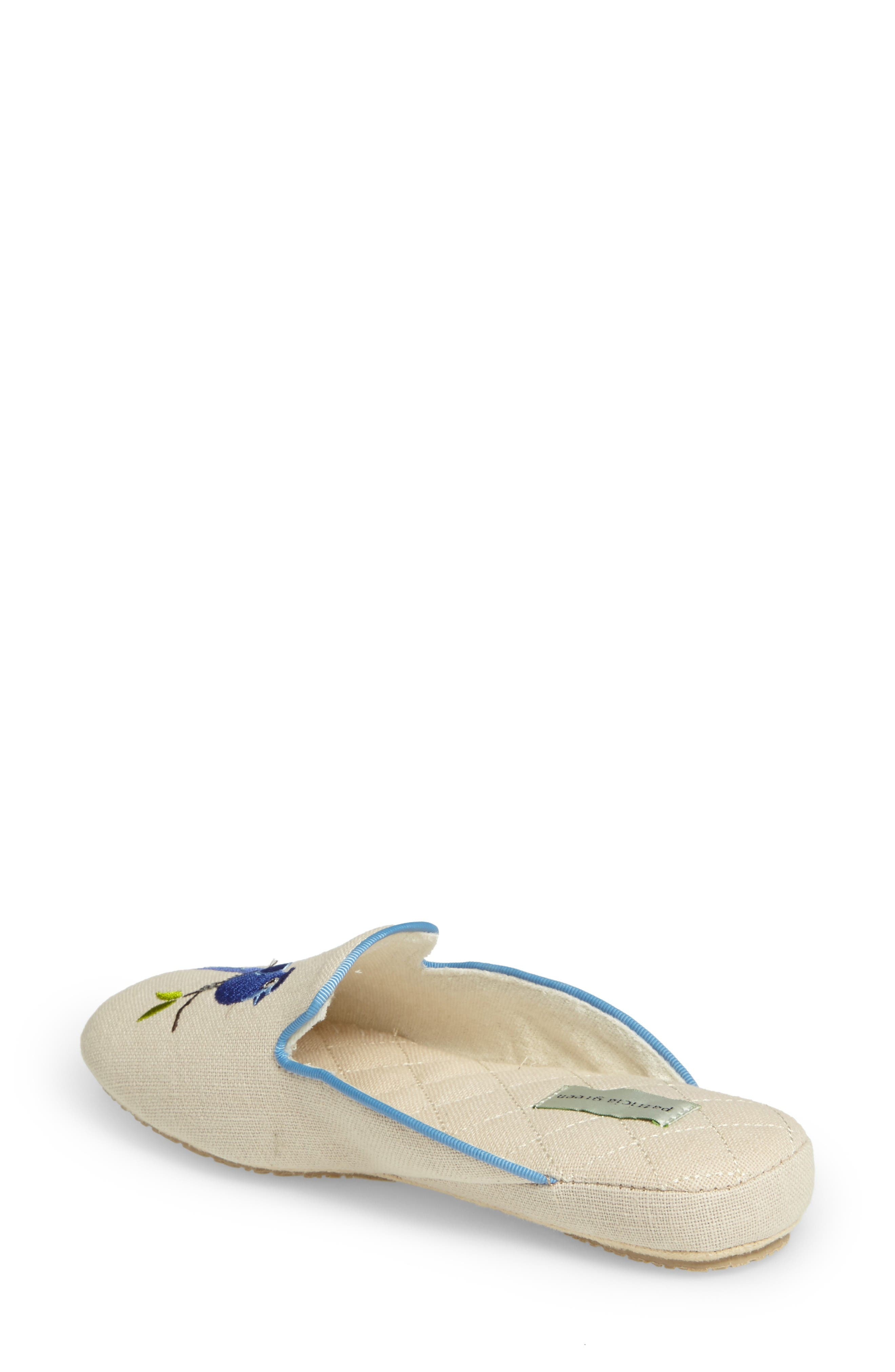 Bluebird Embroidered Slipper,                             Alternate thumbnail 2, color,                             Natural Fabric