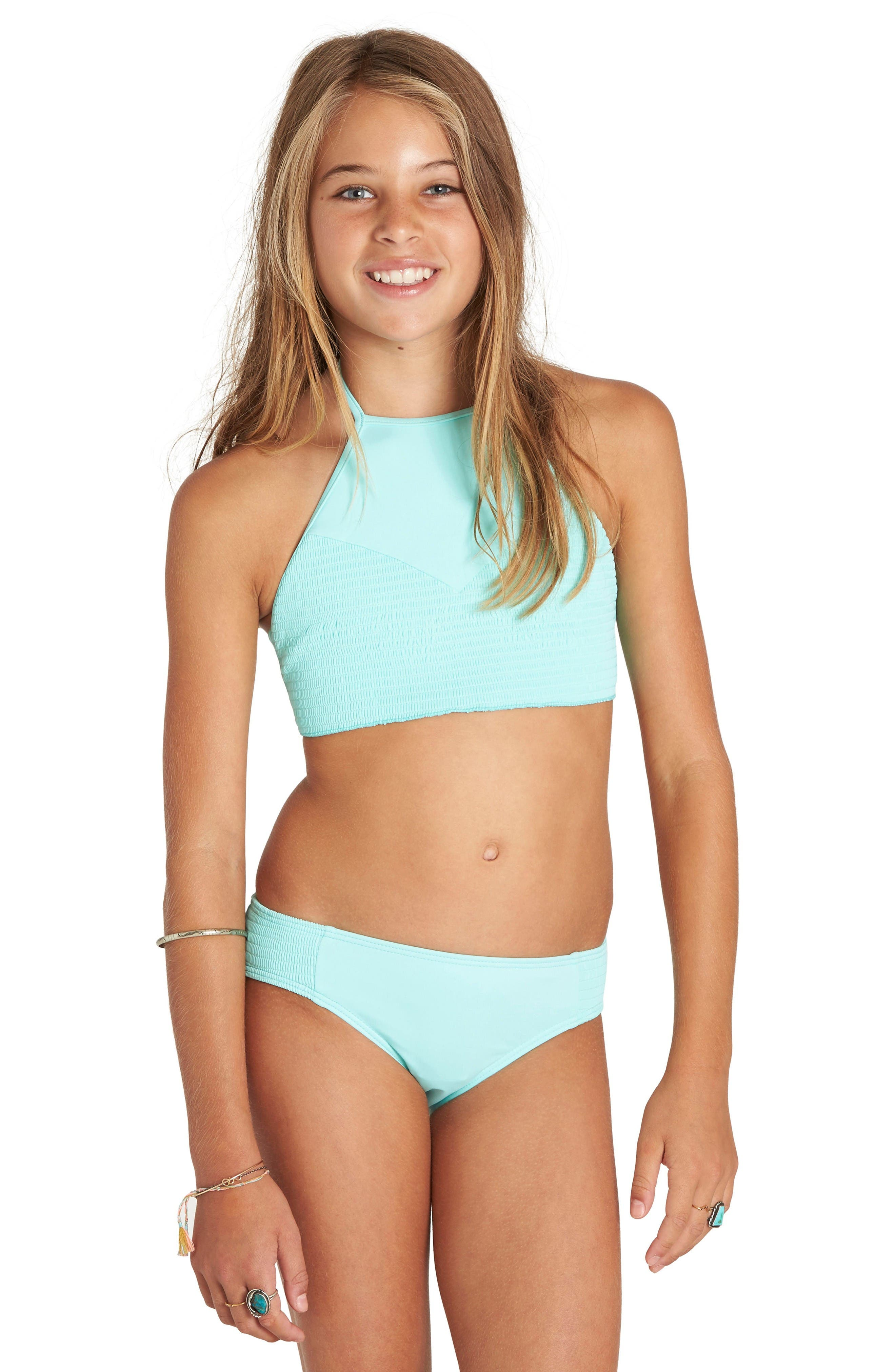 Smocked Two-Piece Swimsuit,                             Main thumbnail 1, color,                             Beach Glass