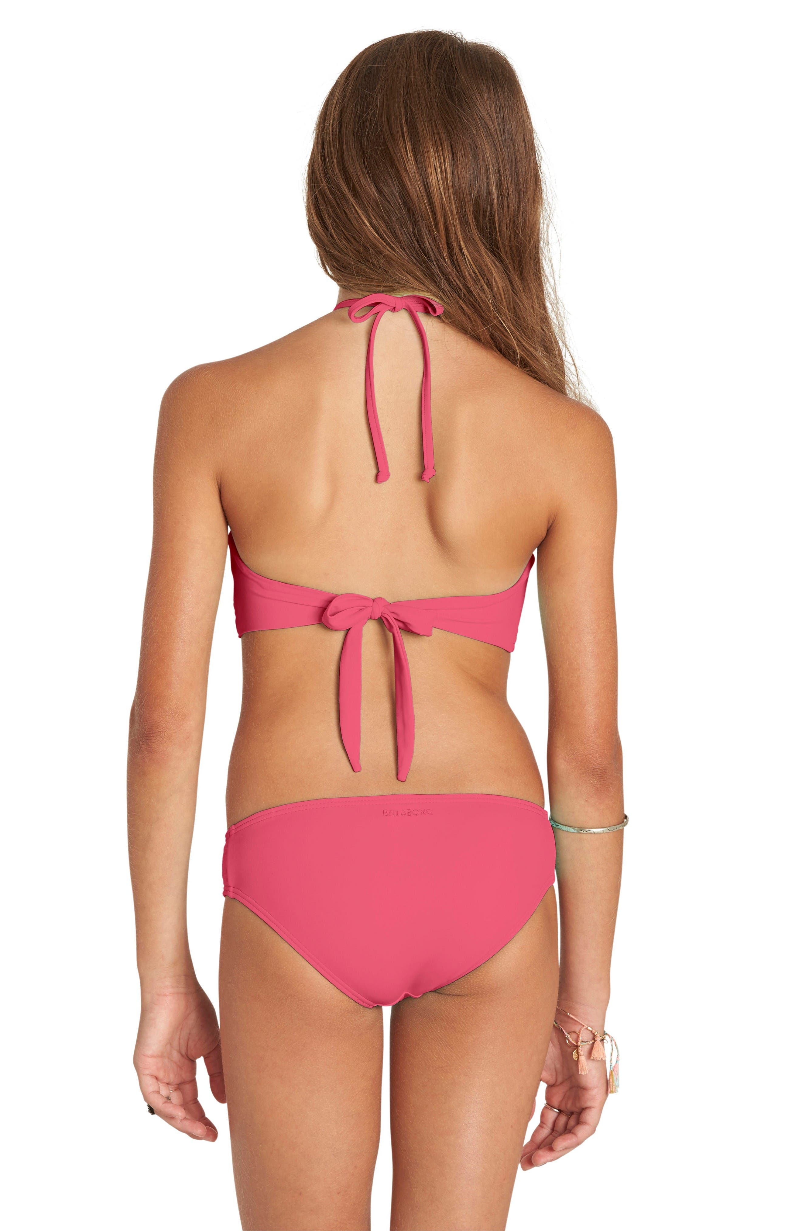 Smocked Two-Piece Swimsuit,                             Alternate thumbnail 3, color,                             Tropical Punch
