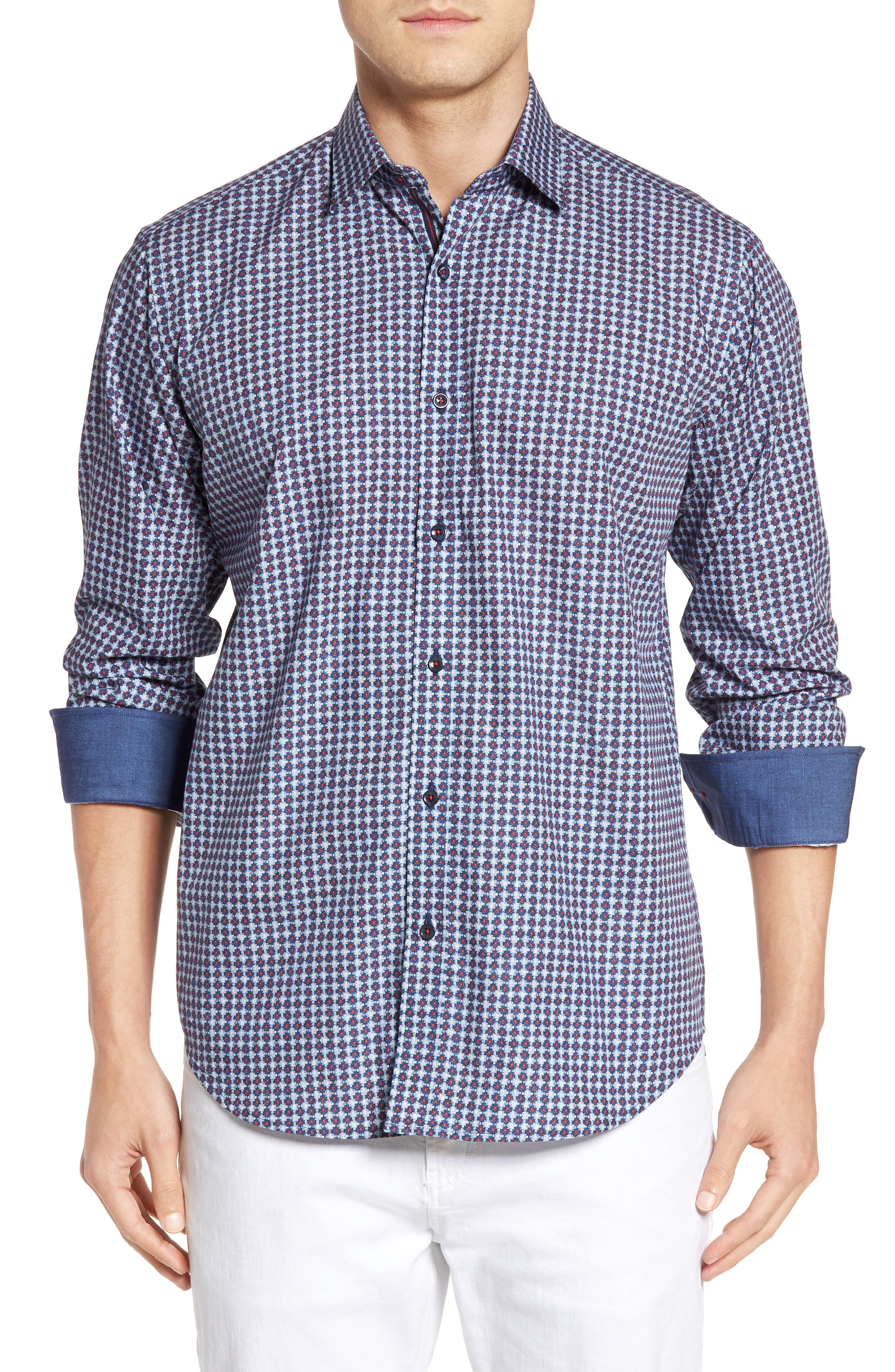 Classic Fit Geo Print Sport Shirt,                         Main,                         color, Navy