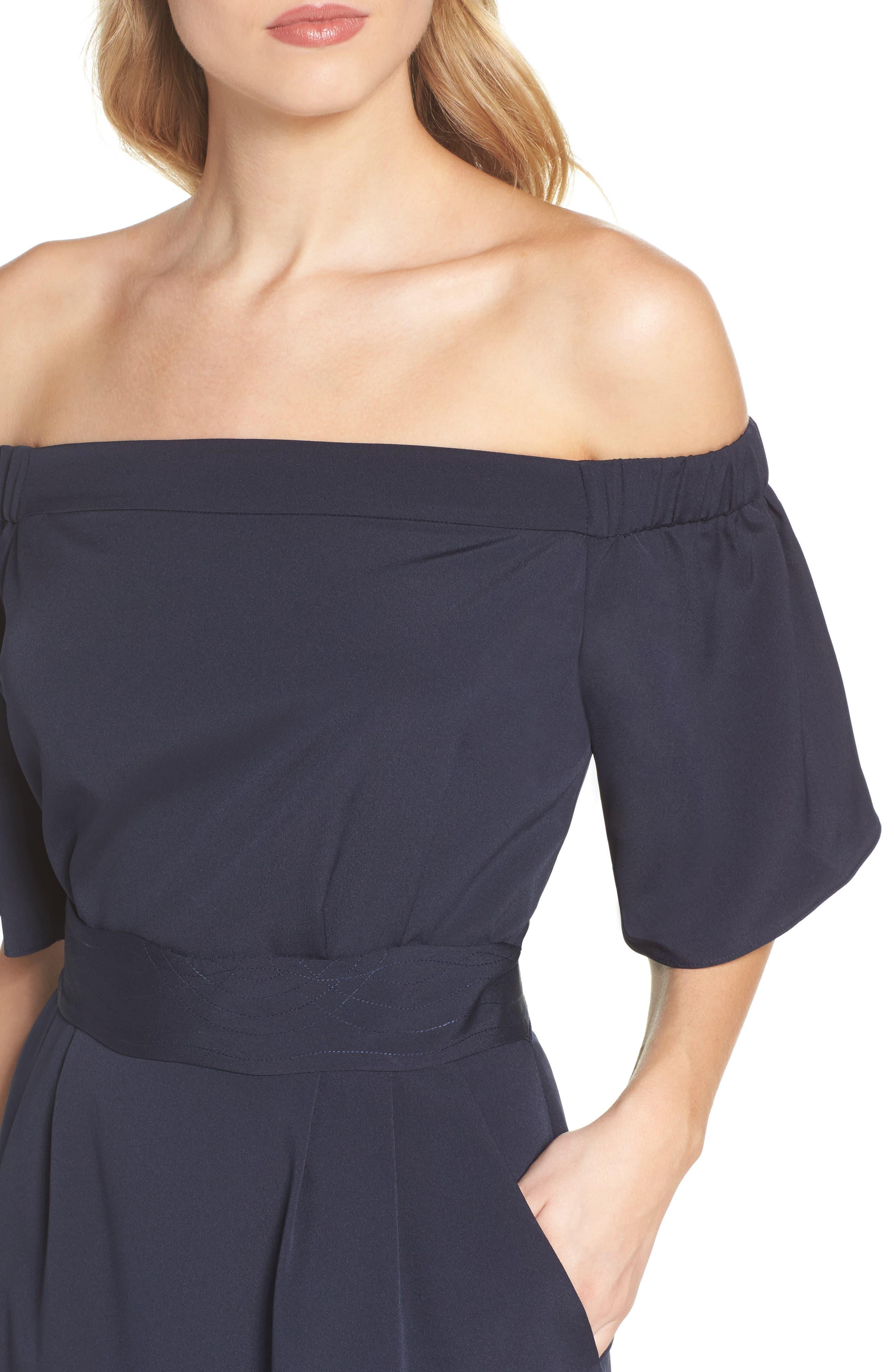 Alternate Image 5  - Eliza J Off the Shoulder Obi Dress (Regular & Petite)