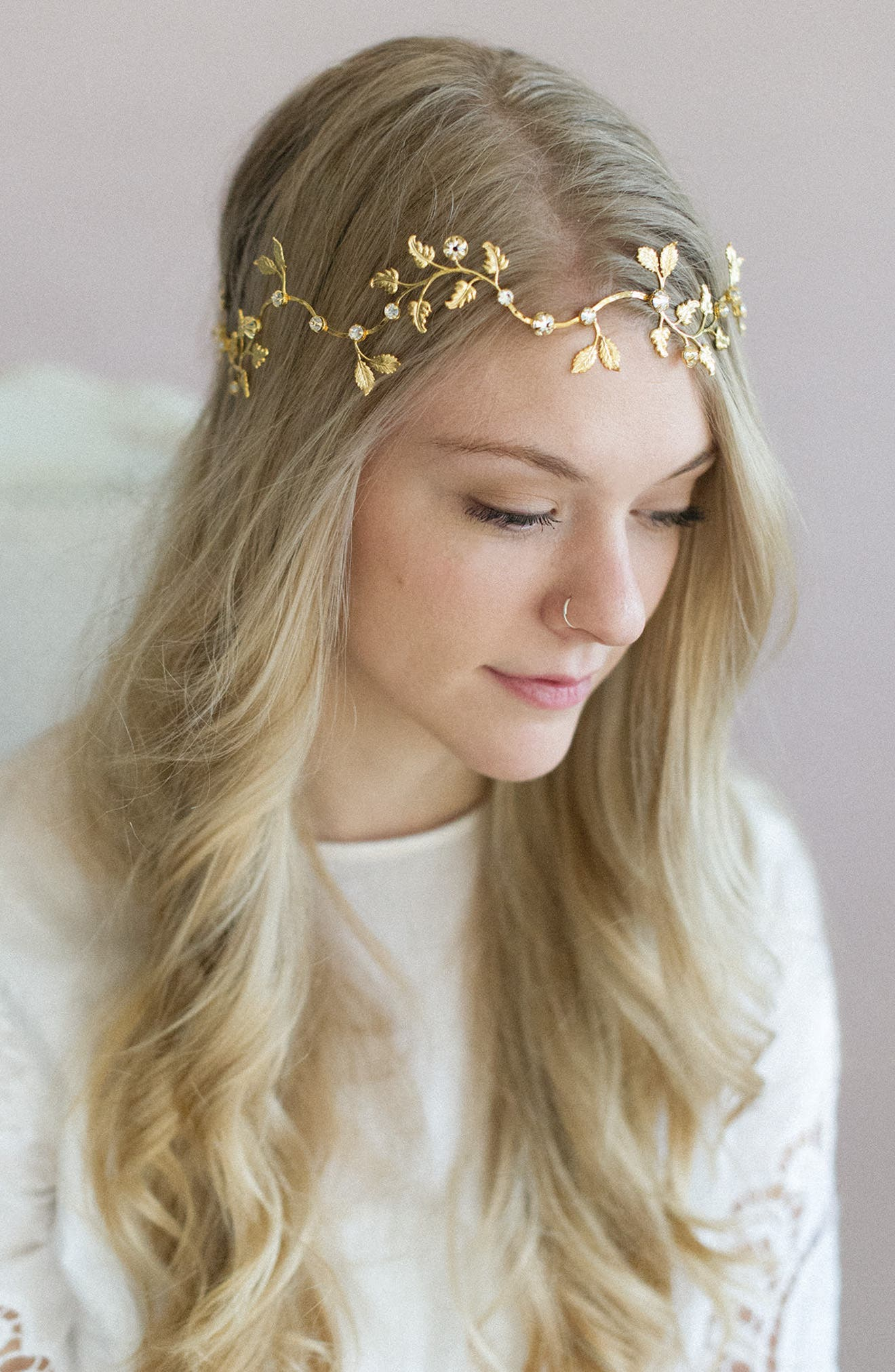 Dainty Gilded Leaf Headband,                             Main thumbnail 1, color,                             Gold