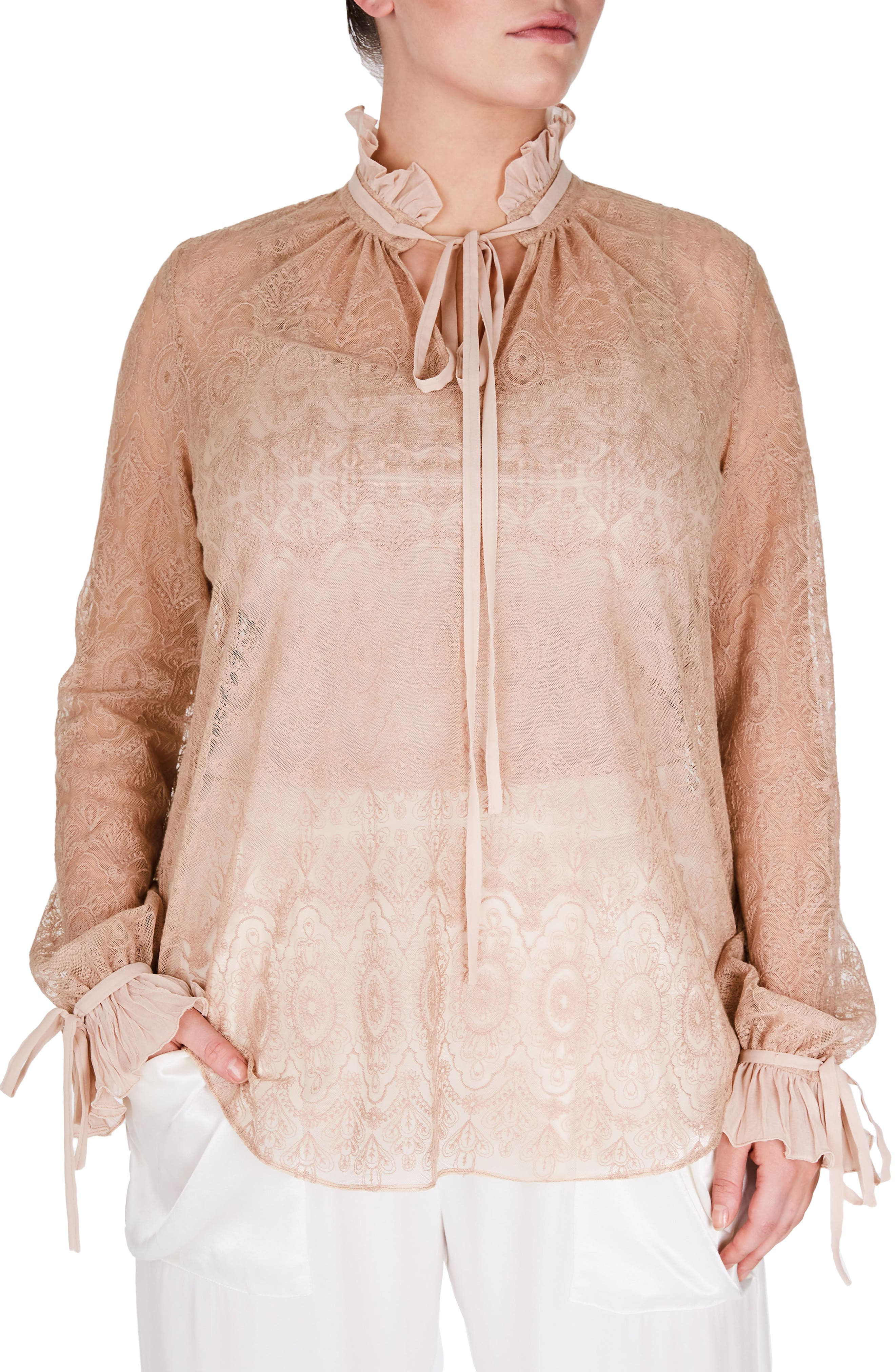 Victorian Blouse,                         Main,                         color, Nude