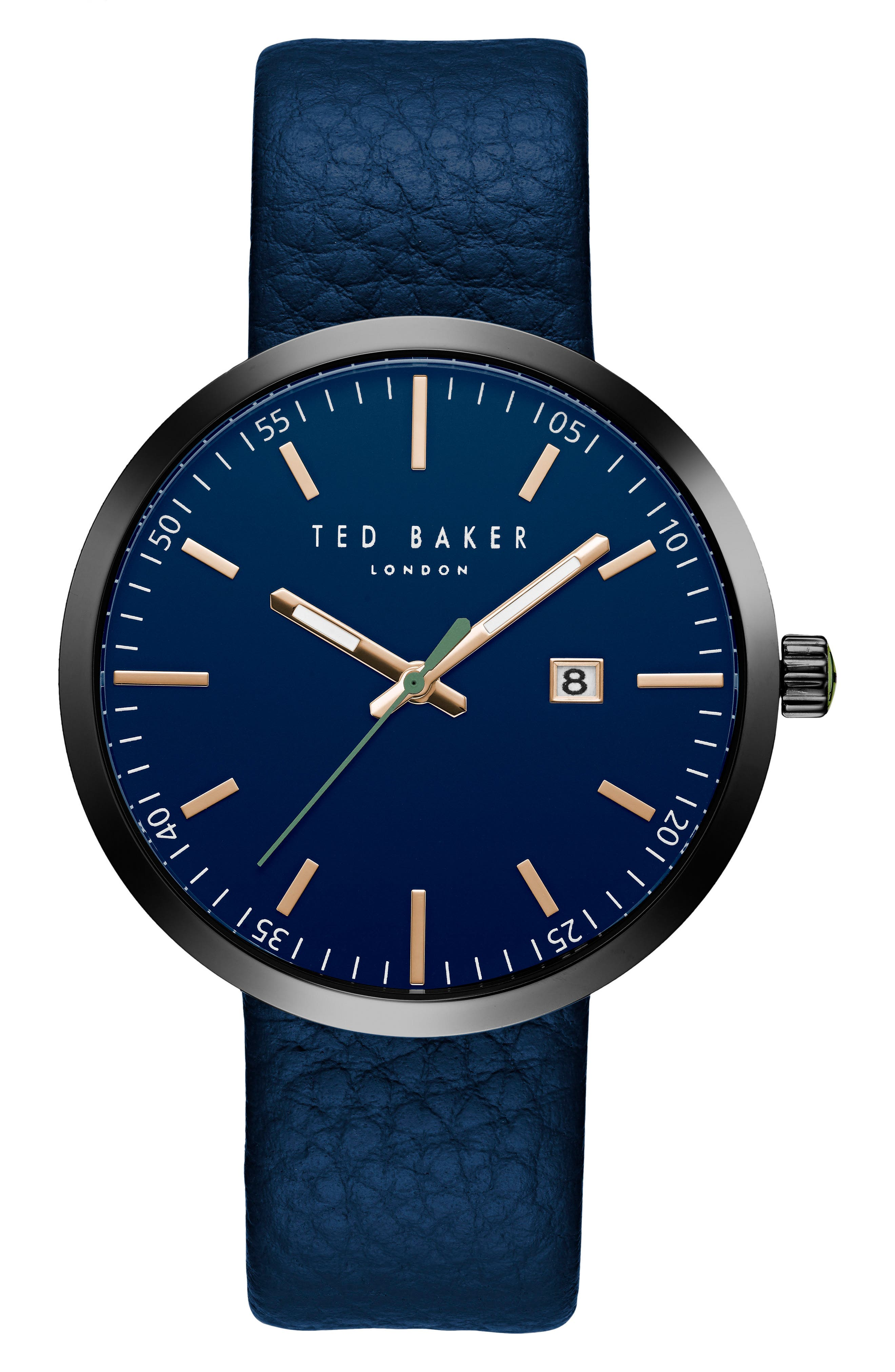 TED BAKER LONDON Jack Round Leather Strap Watch, 40mm