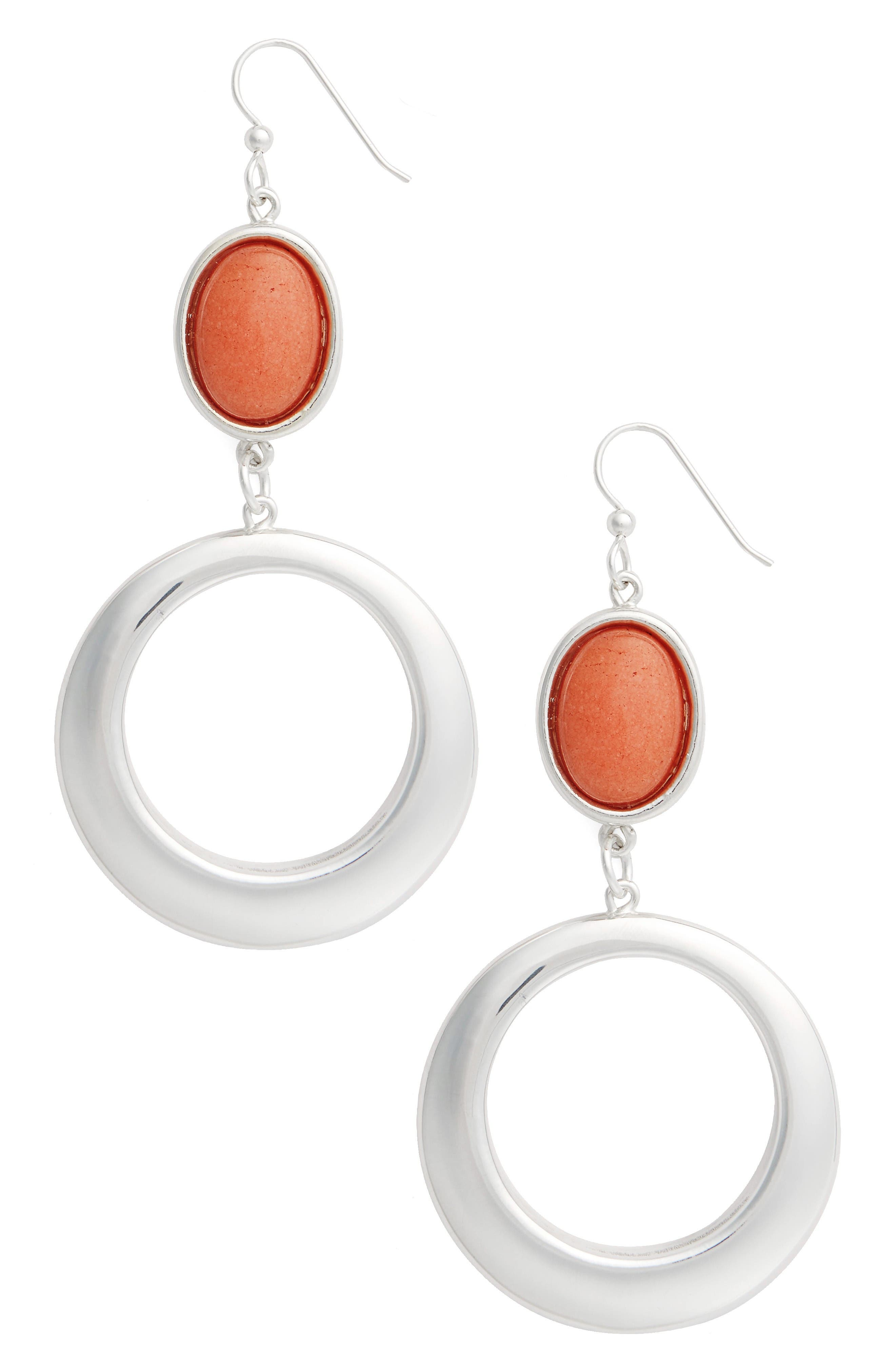 Semiprecious Stone Hoop Drop Earrings,                             Main thumbnail 1, color,                             Orange/ Silver