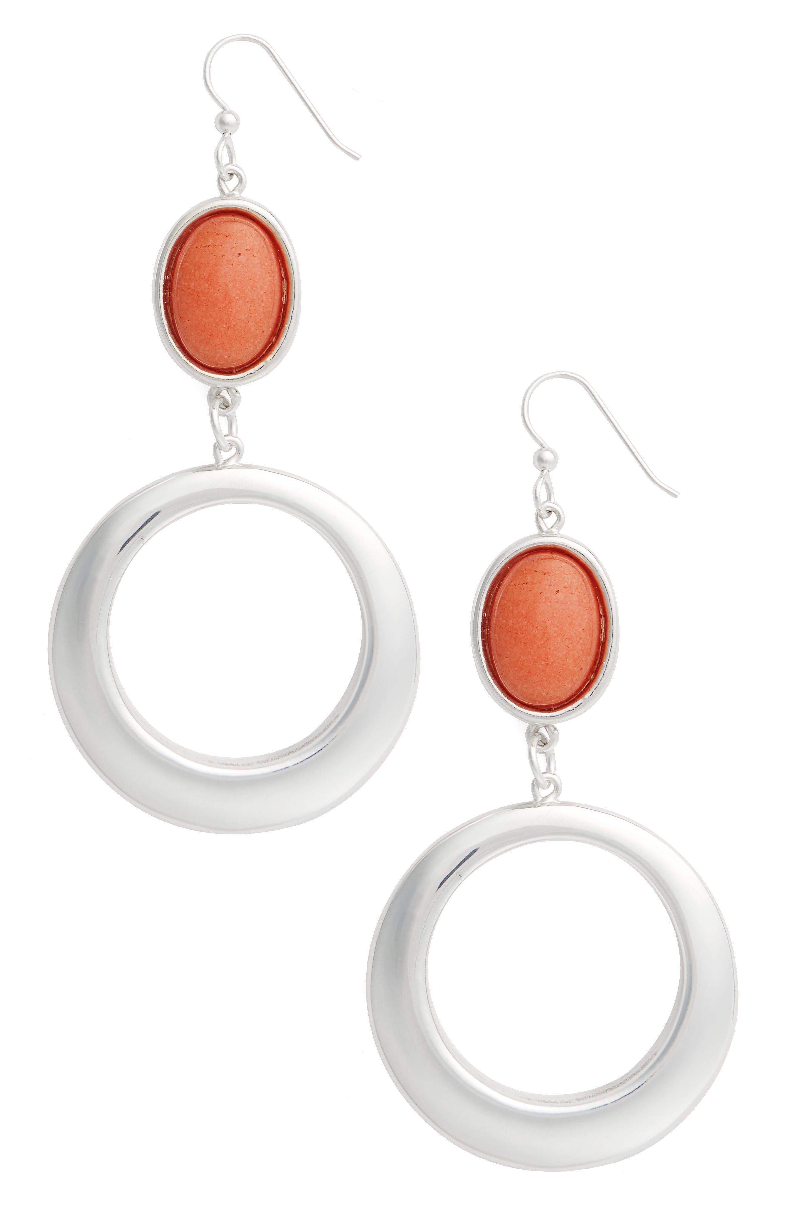 Semiprecious Stone Hoop Drop Earrings,                         Main,                         color, Orange/ Silver