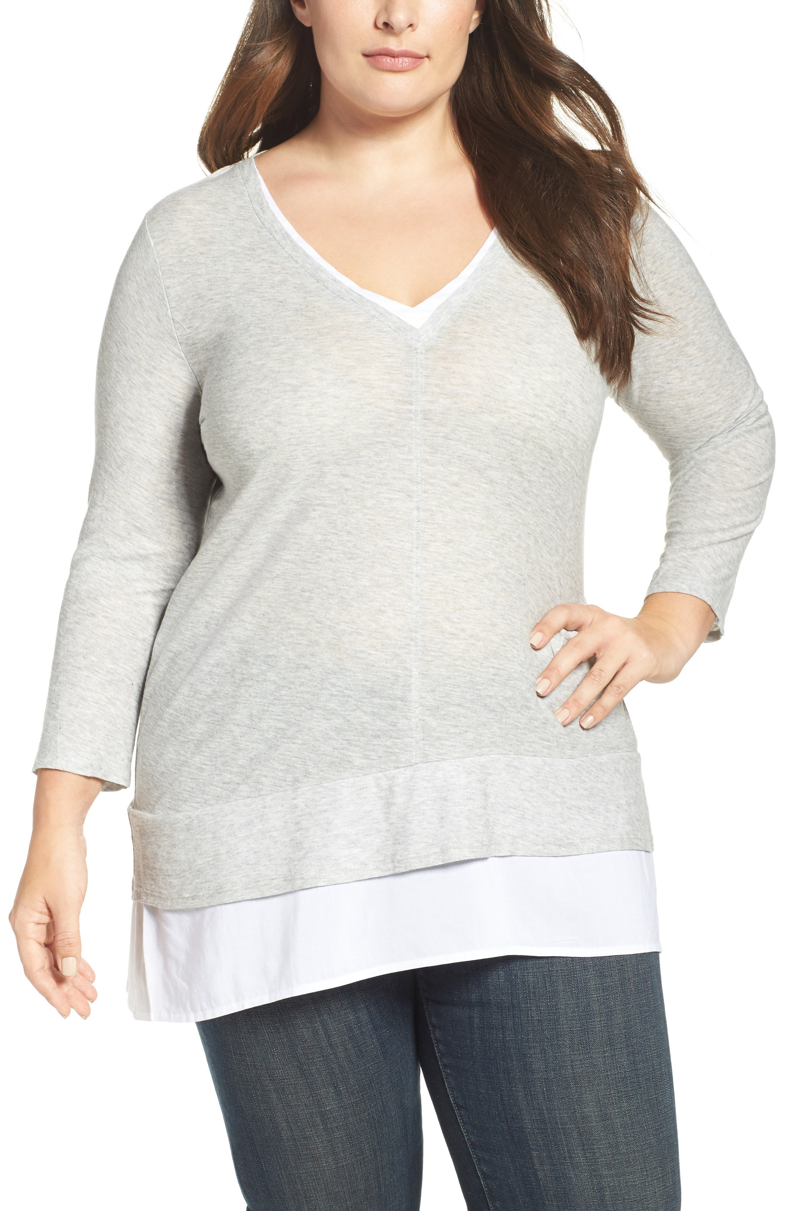 Layer Look Mixed Media Top,                         Main,                         color, Grey Heather