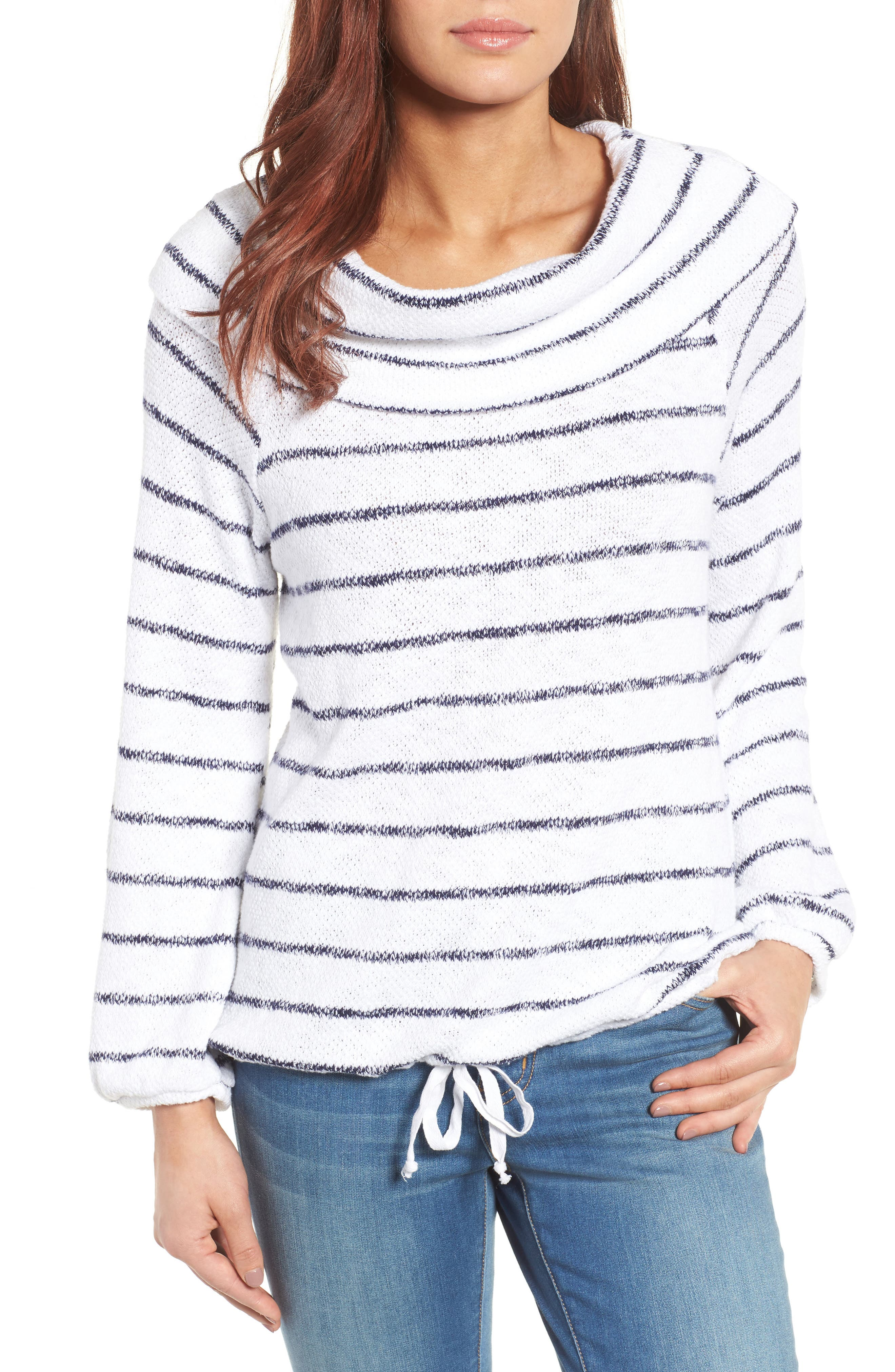 Convertible Off the Shoulder Pullover,                         Main,                         color, White- Navy Stripe