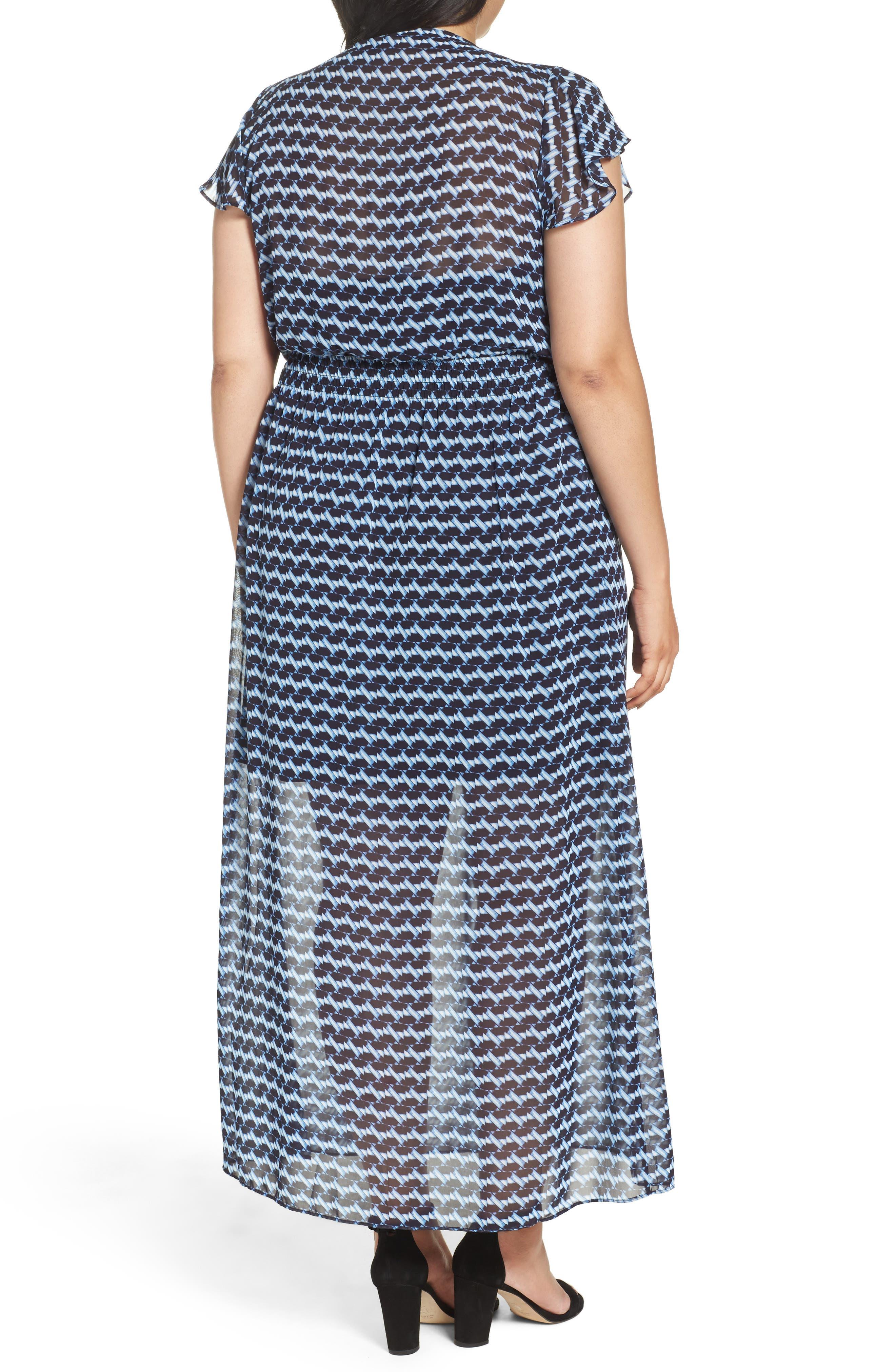 Alternate Image 2  - London Times Ruffle Sleeve Chiffon Maxi Dress (Plus Size)