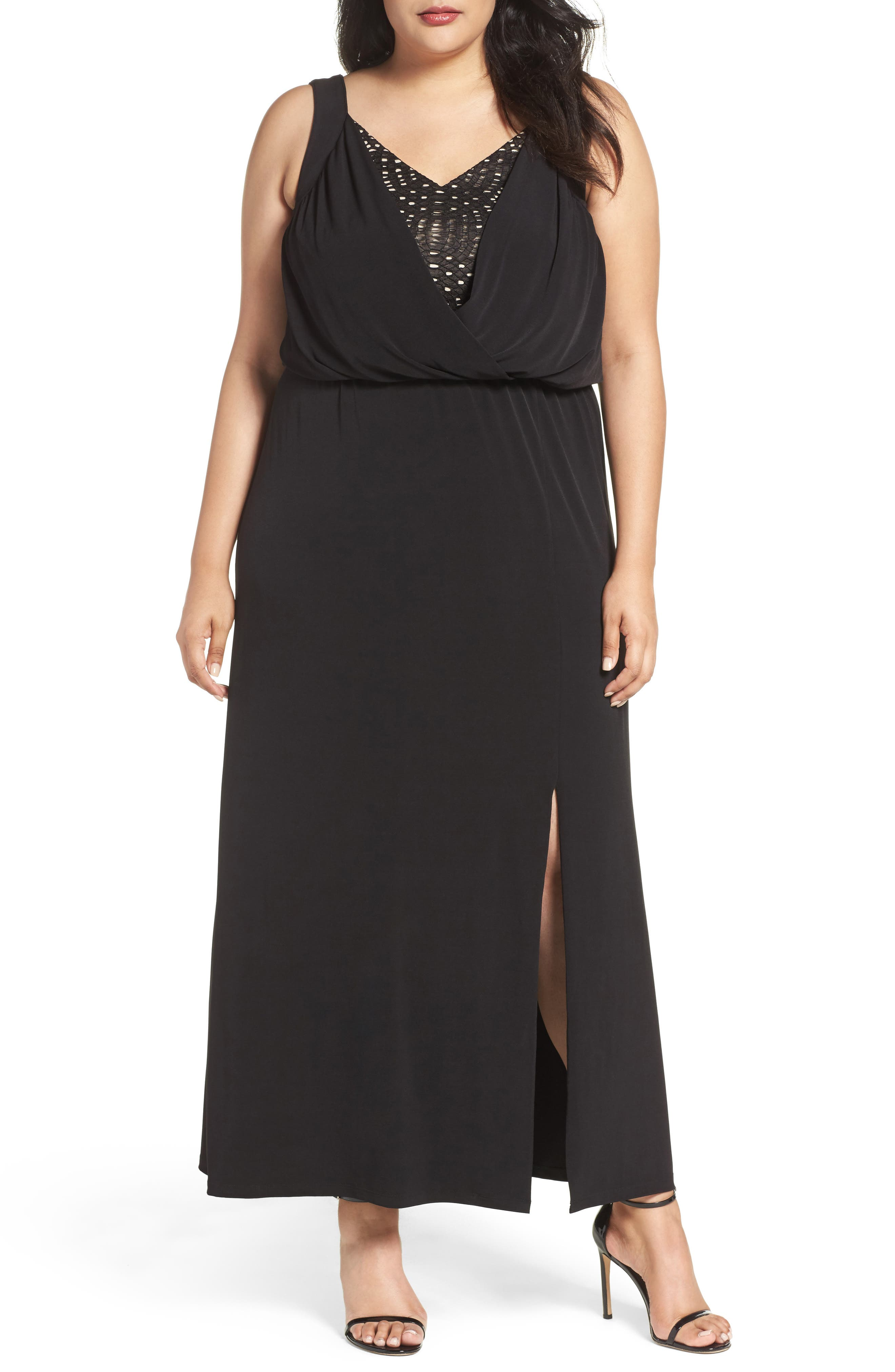 Main Image - London Times Contrast Underlay Jersey Maxi Dress (Plus Size)