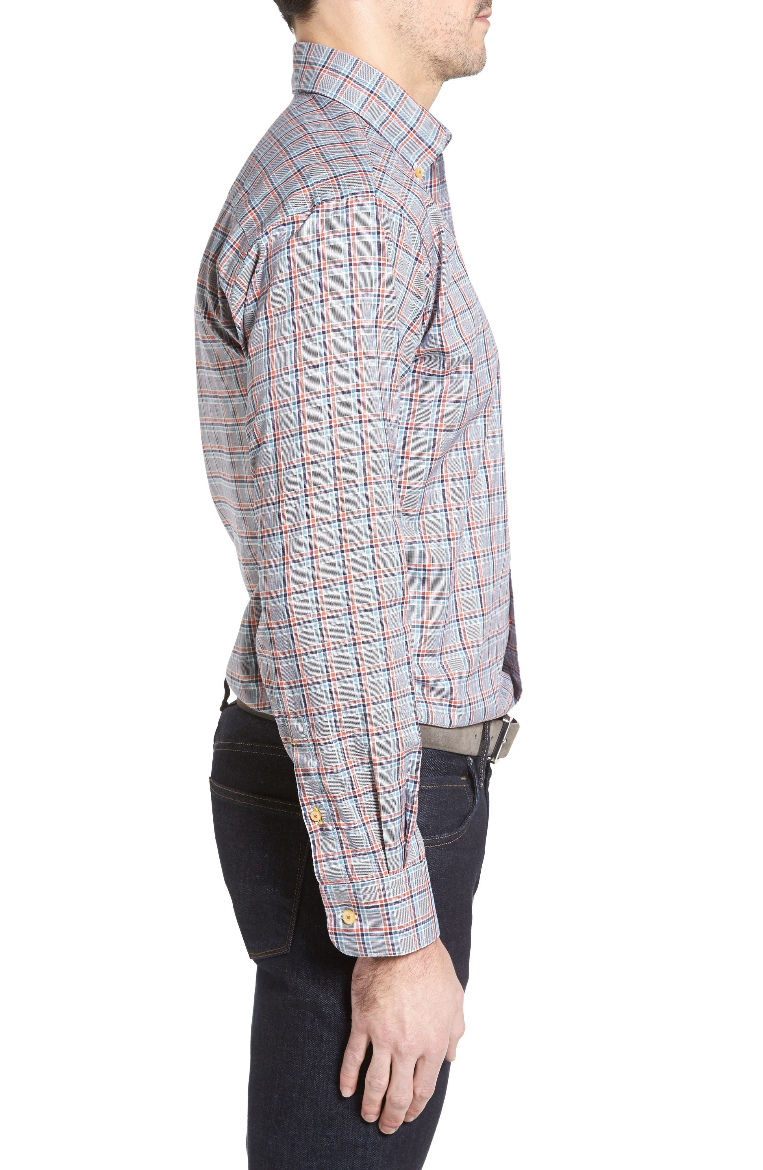 Anderson Classic Fit Plaid Oxford Sport Shirt,                             Alternate thumbnail 3, color,                             Navy