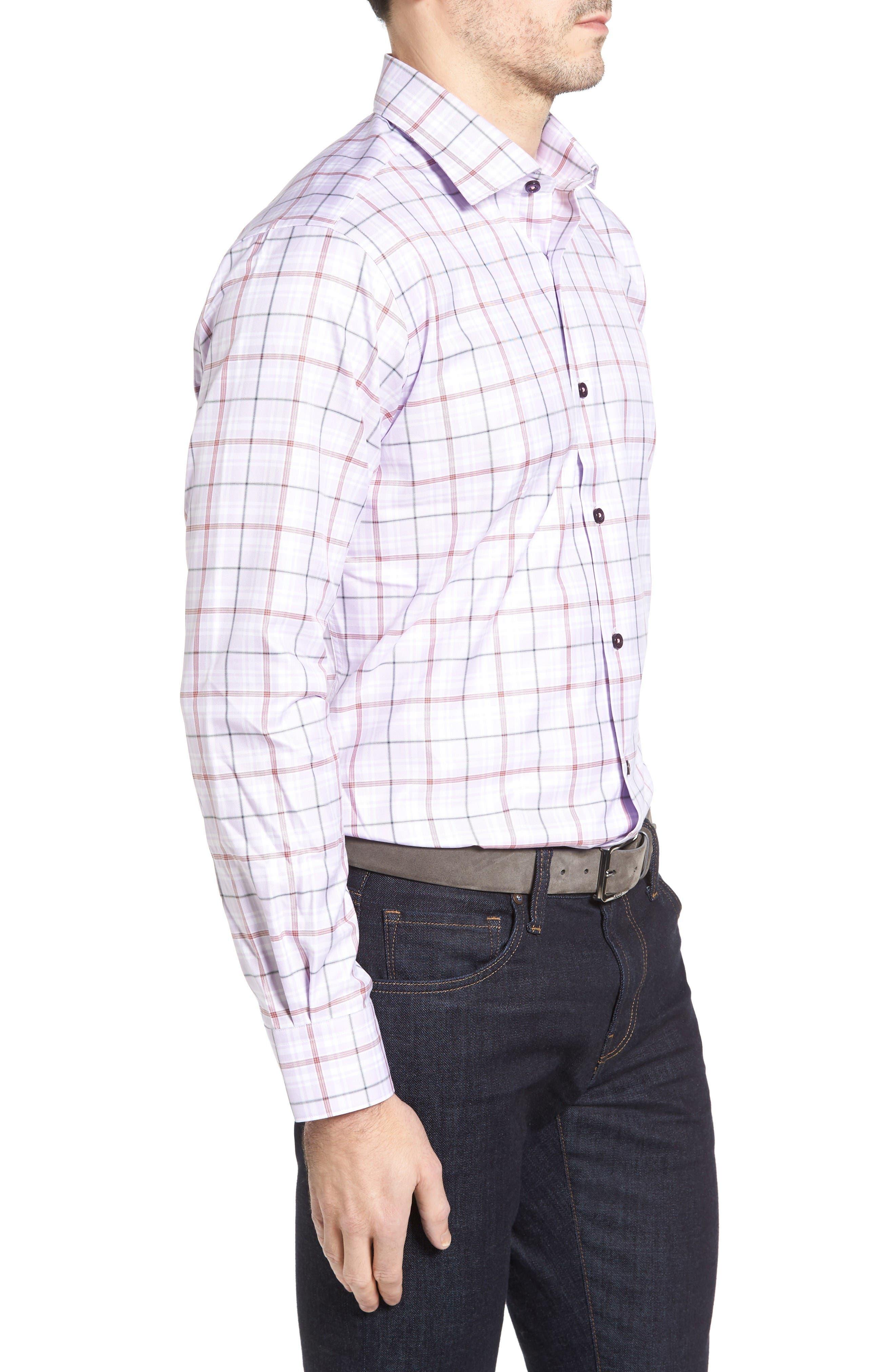 Crespi IV Tailored Fit Sport Shirt,                             Alternate thumbnail 3, color,                             Lavender